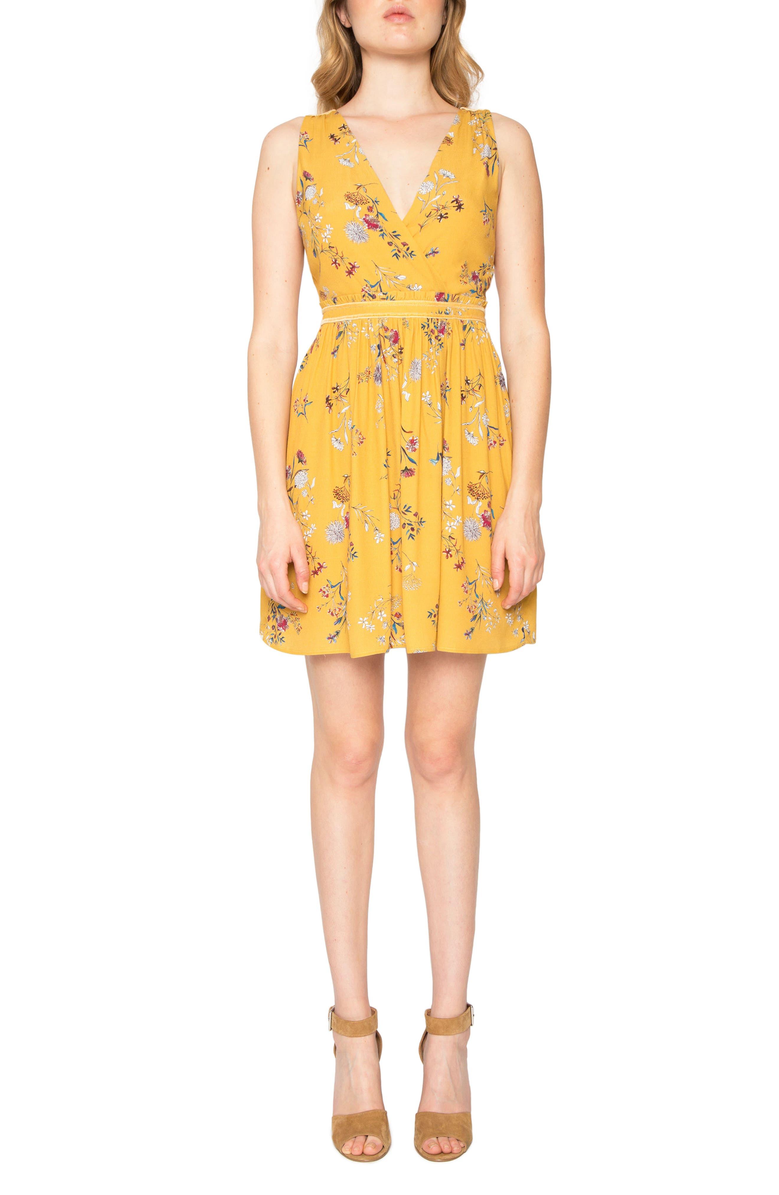 Floral Print Fit & Flare Dress,                         Main,                         color, Saffron