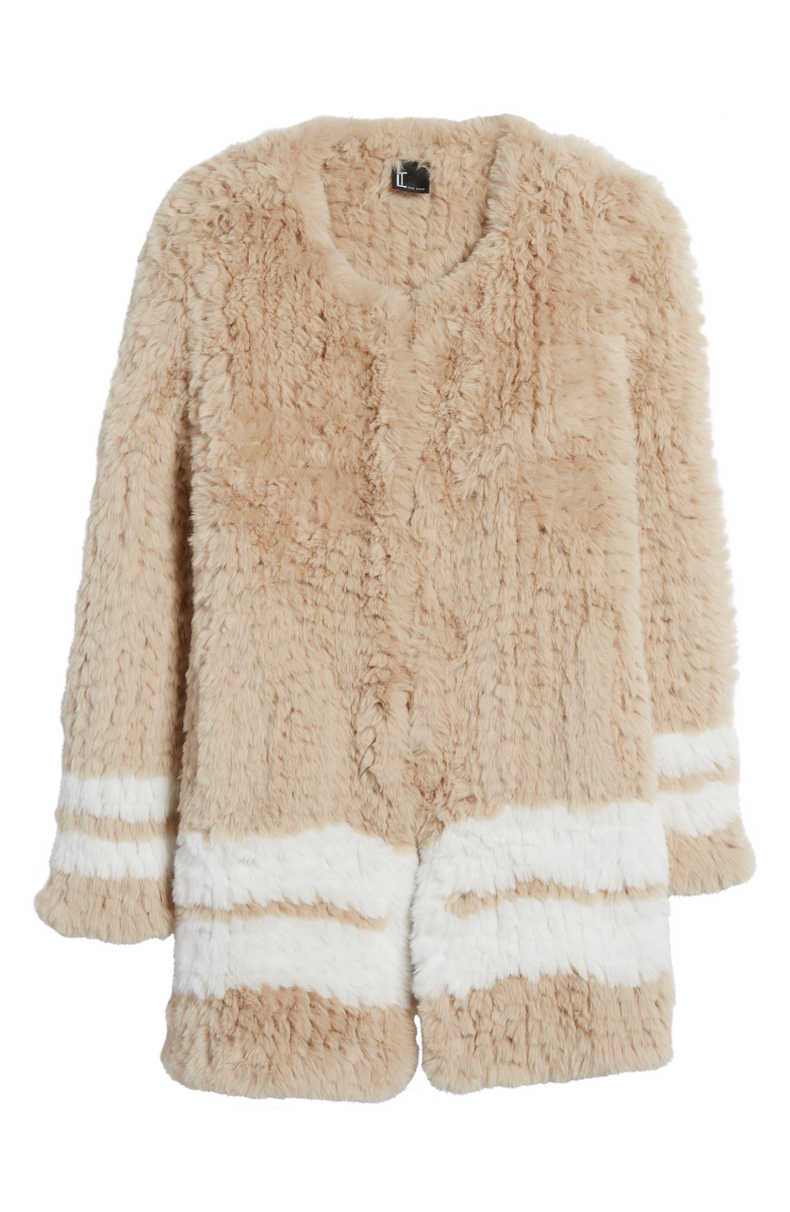 Faux Fur Jacket,                             Alternate thumbnail 5, color,                             Beige