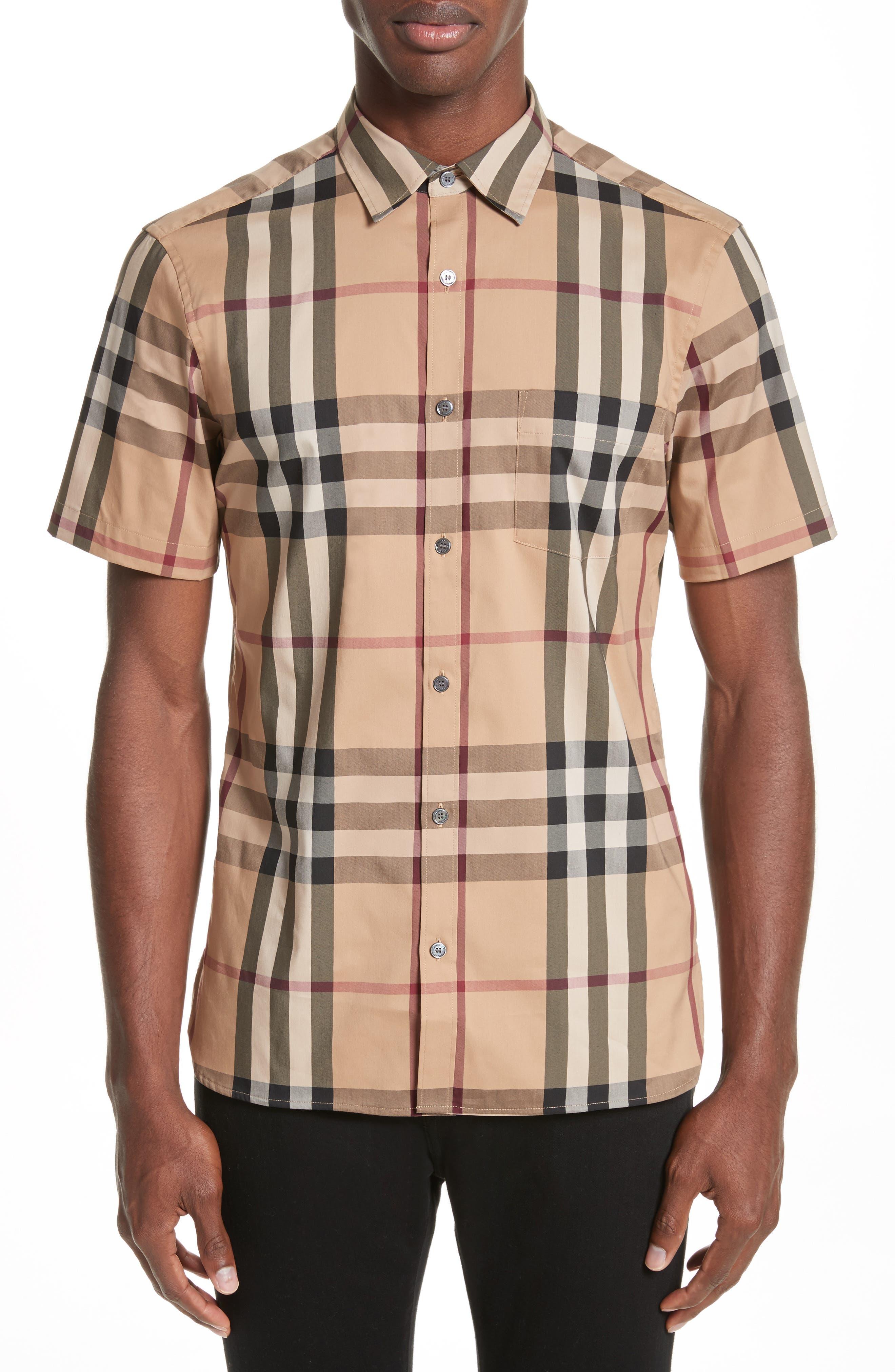 Brit 'Nelson' Trim Fit Short Sleeve Sport Shirt,                         Main,                         color, Camel