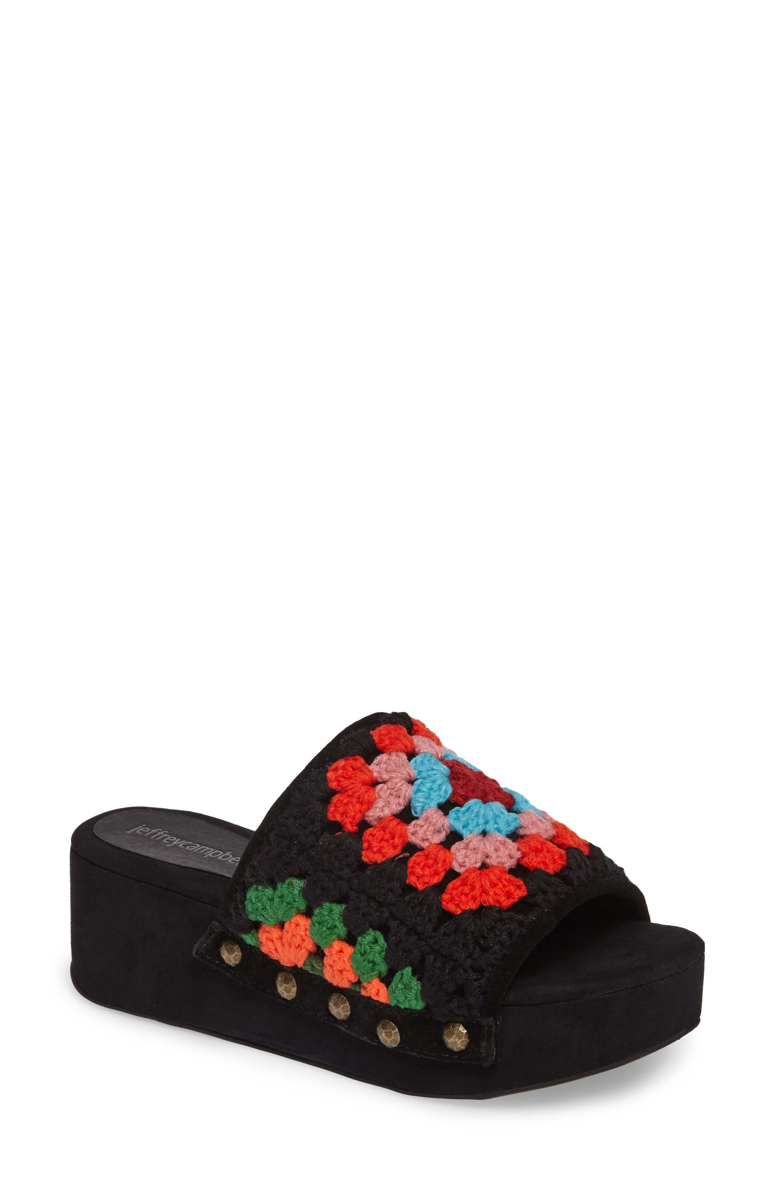 Nonna Crocheted Platform Slide Sandal,                         Main,                         color, Black Suede Multi