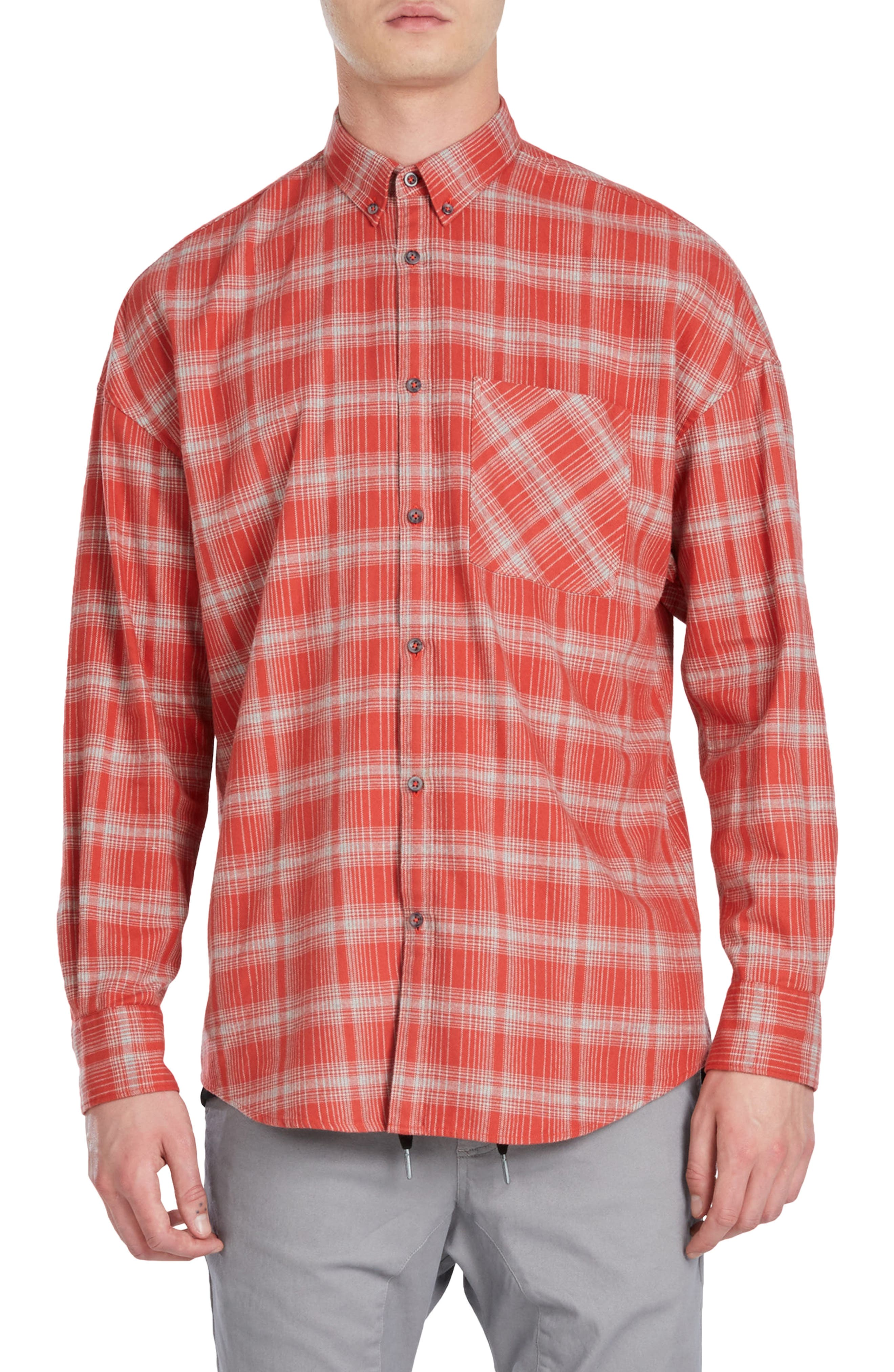 Rugger Plaid Sport Shirt,                             Main thumbnail 1, color,                             Vintage Red/ Grey Marled