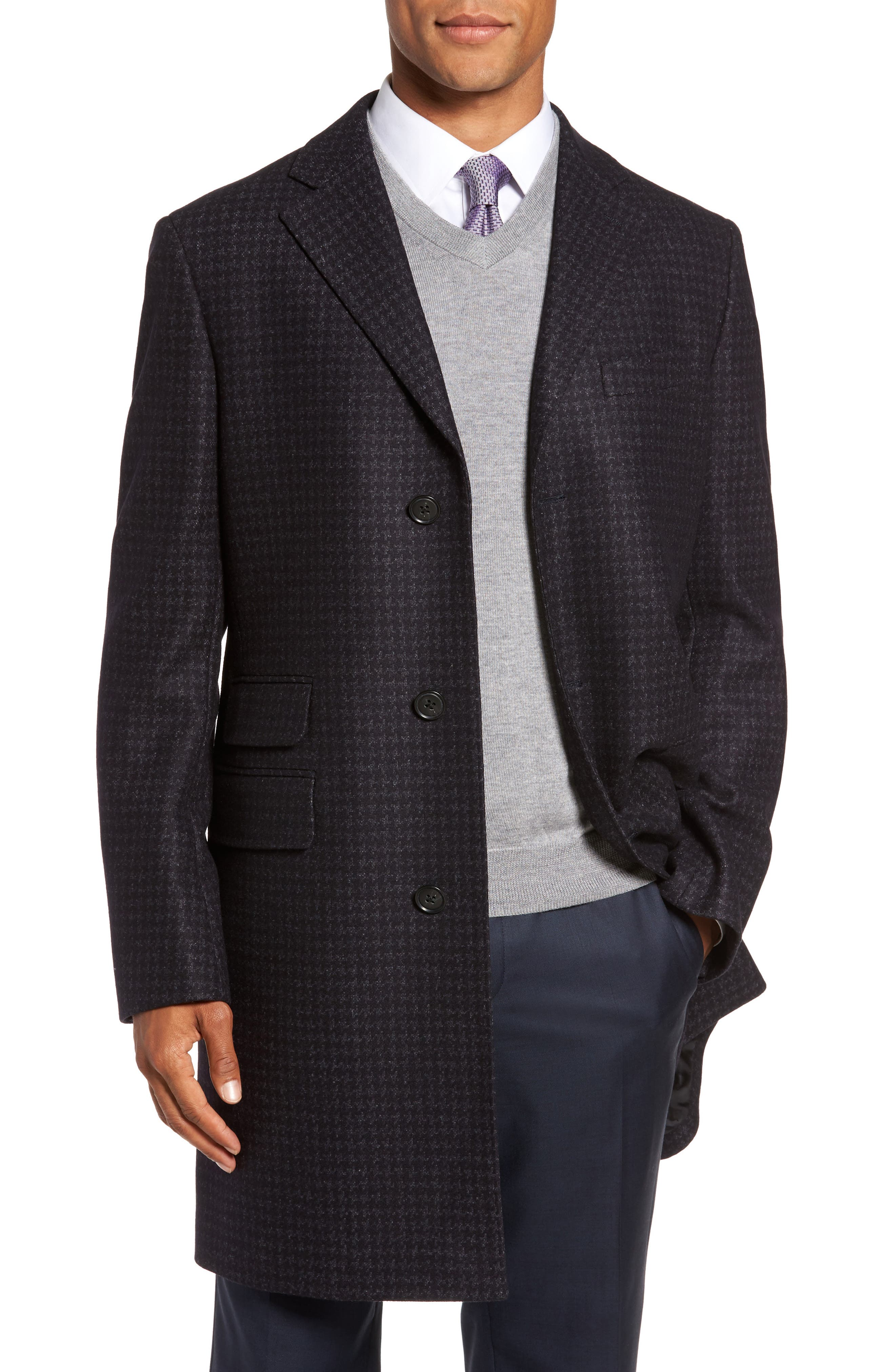 Jackson Houndstooth Wool Blend Overcoat,                             Main thumbnail 1, color,                             Navy