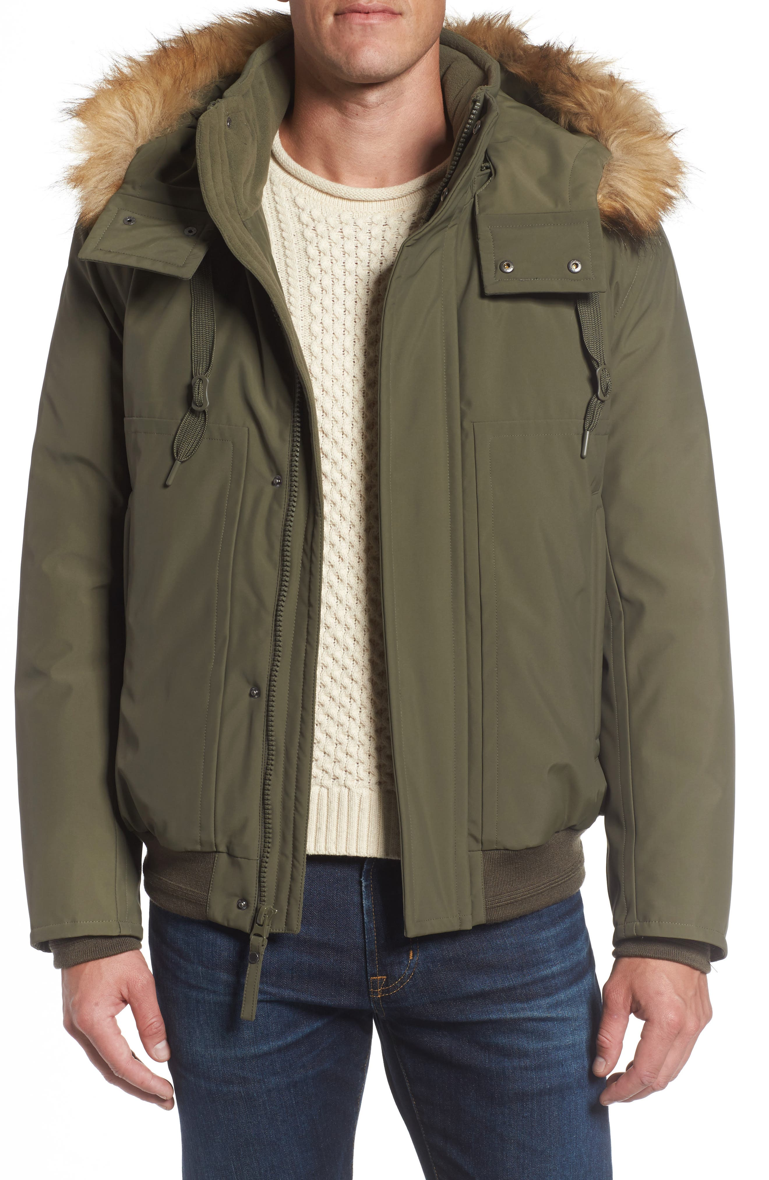 Marc New York Insulated Bomber Jacket with Faux Fur Trim