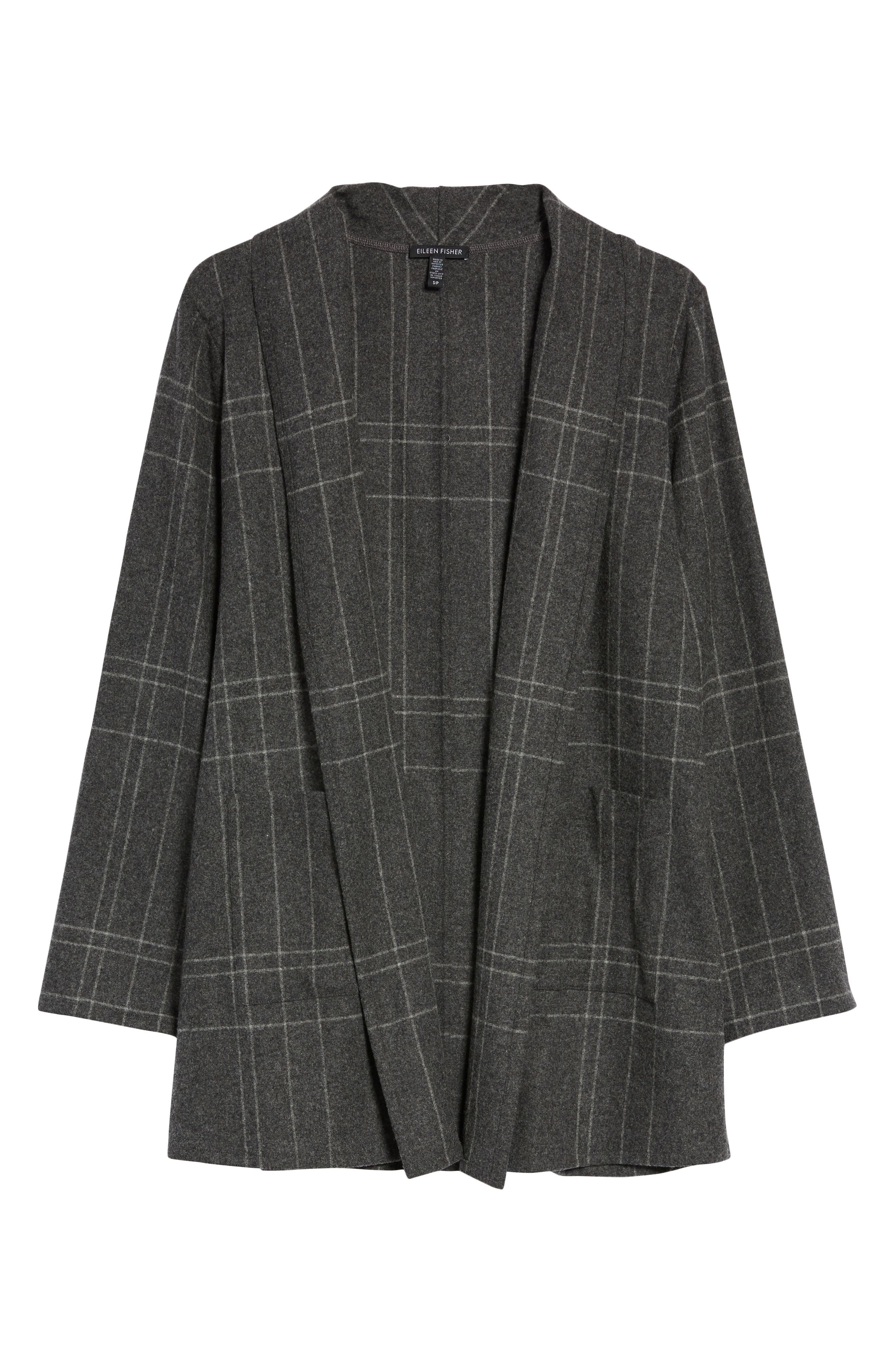 Plaid Kimono Jacket,                             Alternate thumbnail 6, color,                             Dark Ash