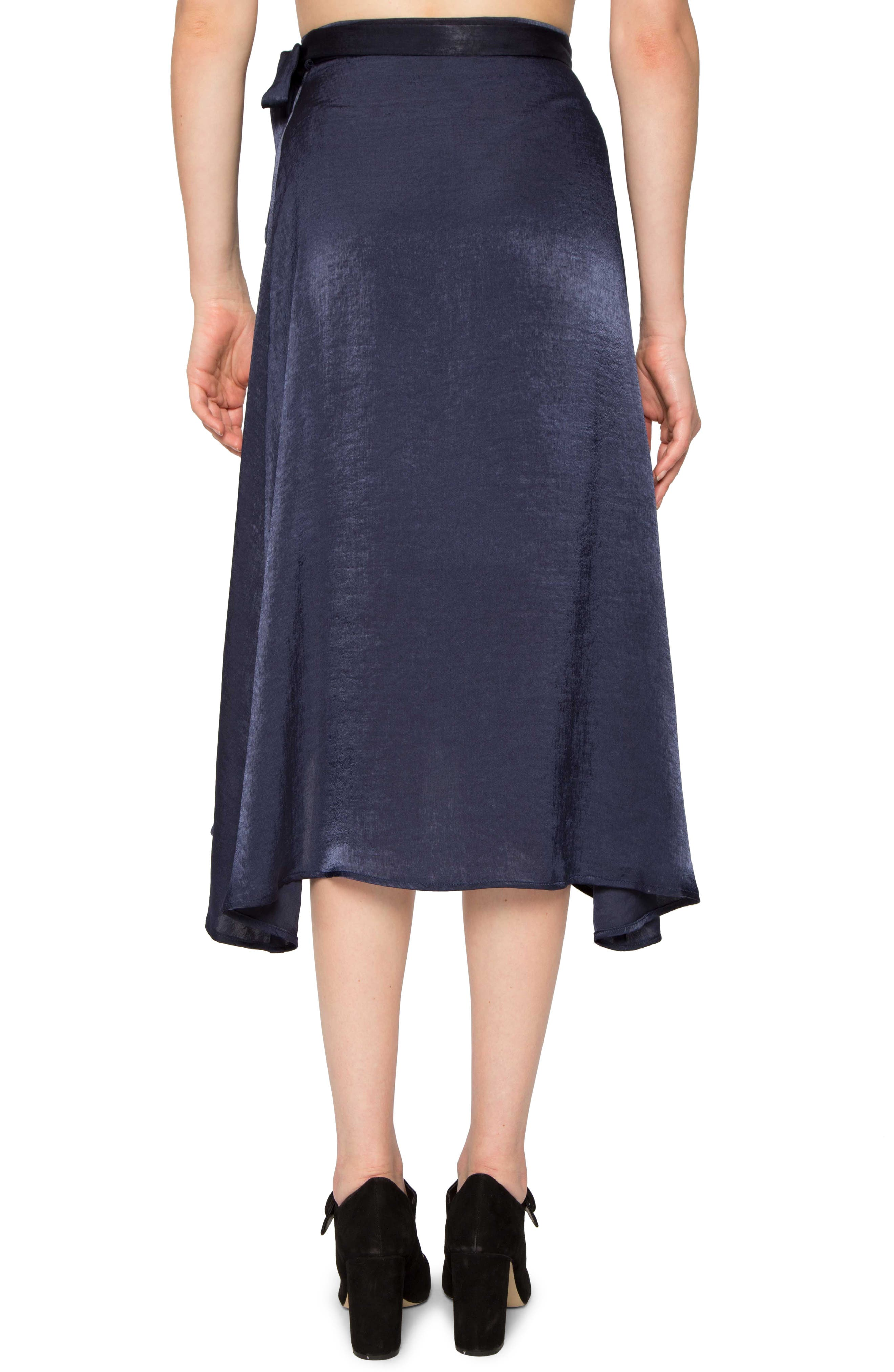 Satin Wrap Skirt,                             Alternate thumbnail 2, color,                             Navy