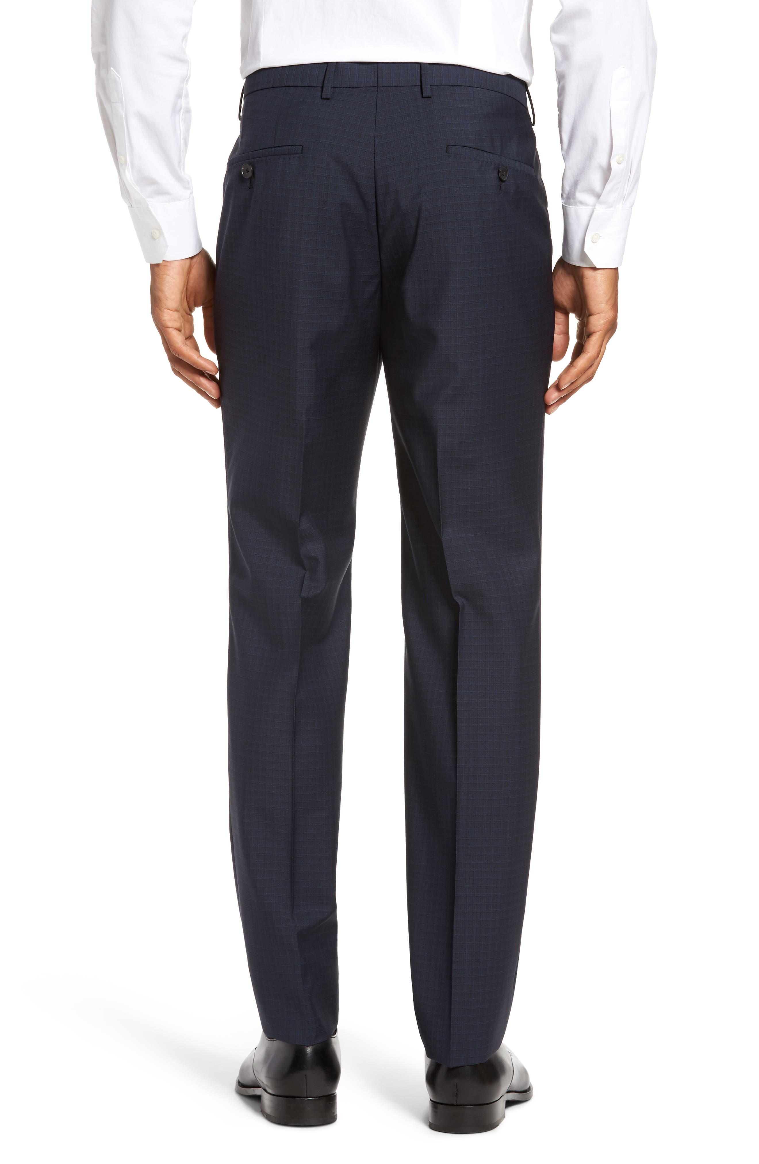 Benso Flat Front Check Wool Trousers,                             Alternate thumbnail 3, color,                             Navy