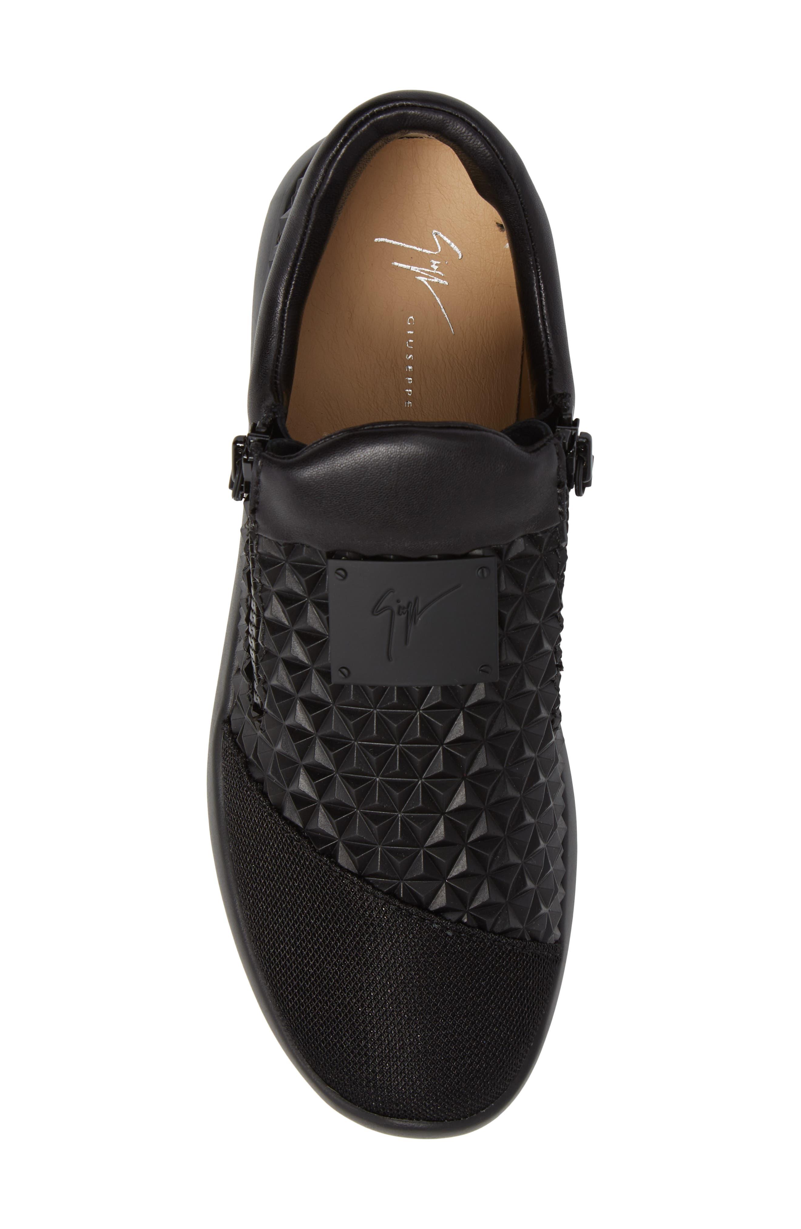 Geo Embossed Zip Sneaker,                             Alternate thumbnail 5, color,                             Nero