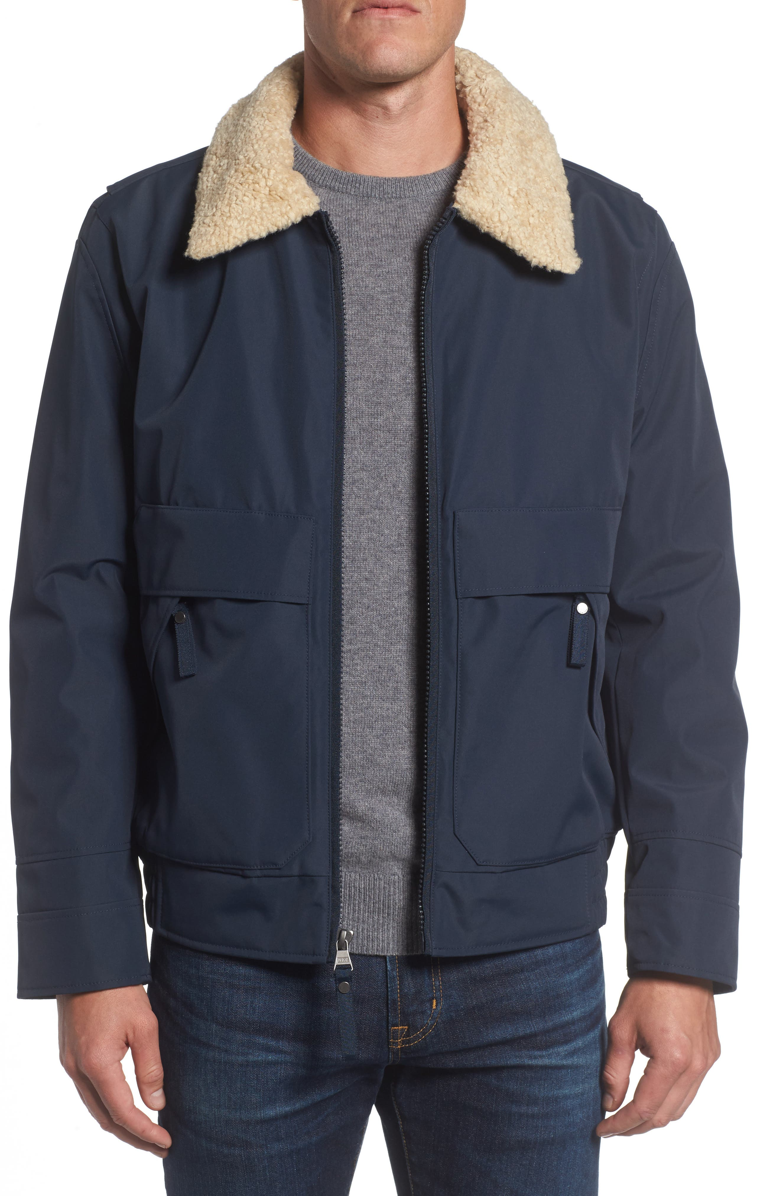 Marc New York Porter Faux Shearling Collar Aviator Jacket