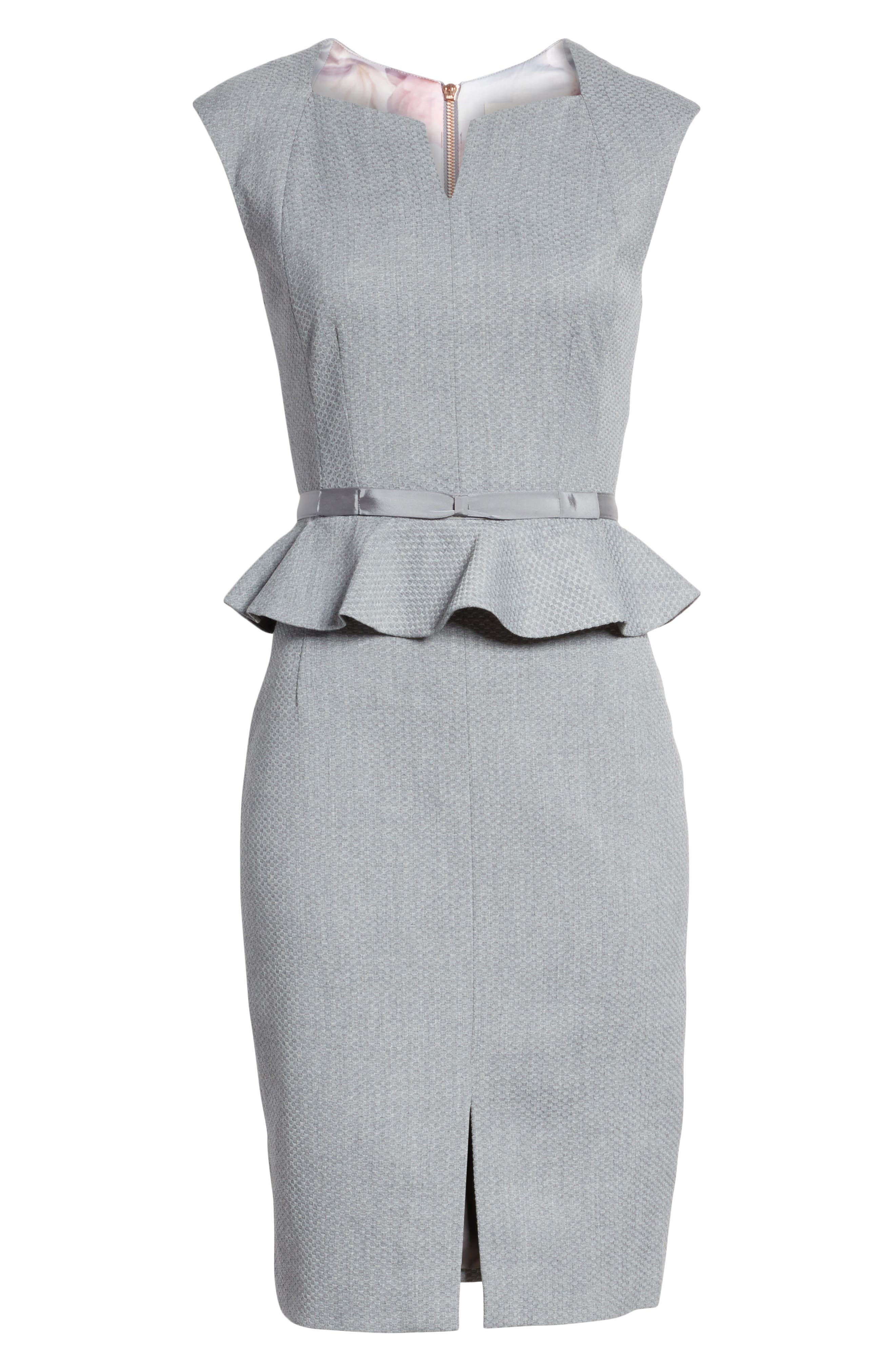 Nadaed Bow Detail Textured Peplum Dress,                             Alternate thumbnail 6, color,                             Mid Grey
