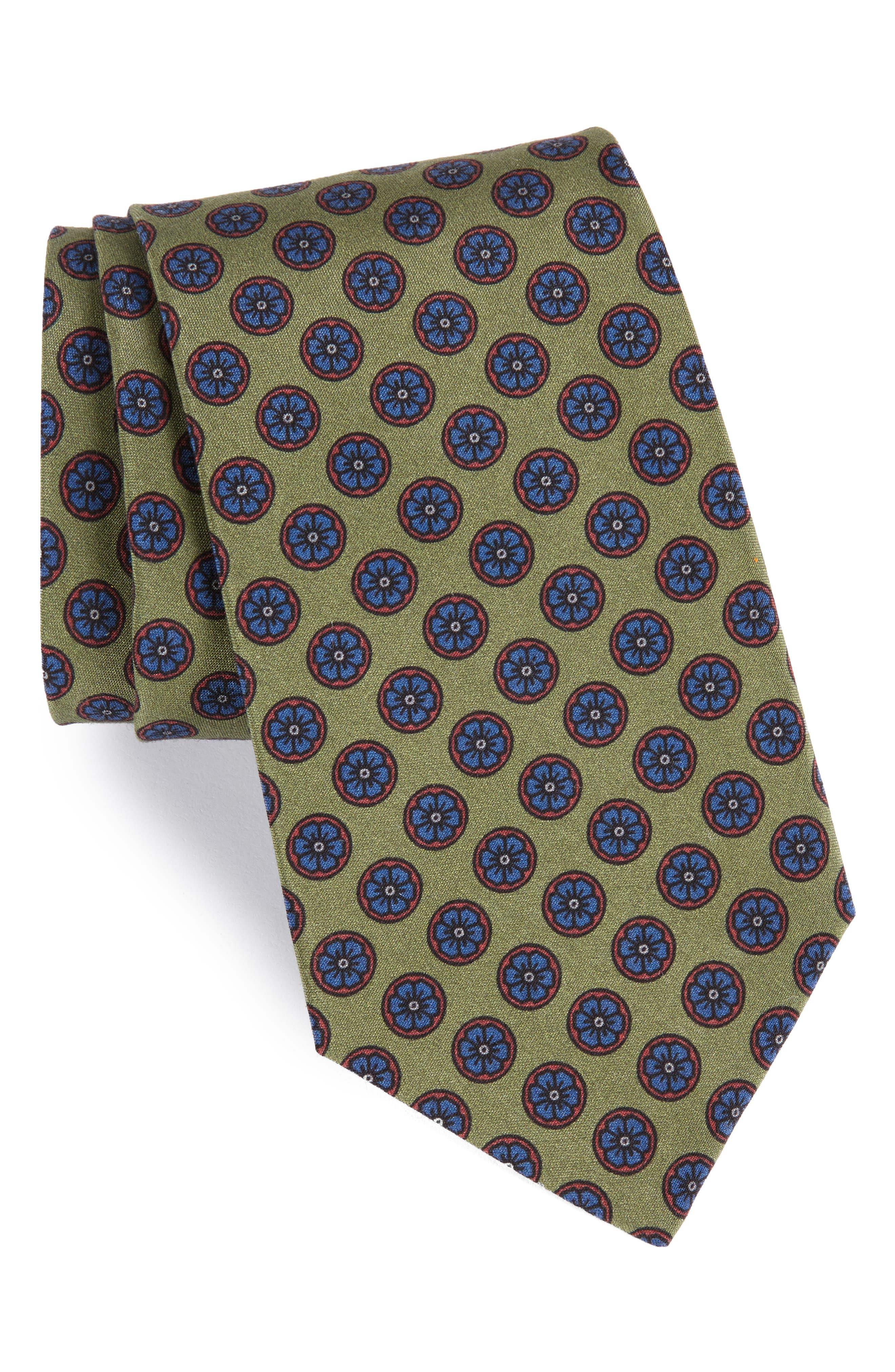 MICHAEL BASTIAN Floral Medallion Silk Tie