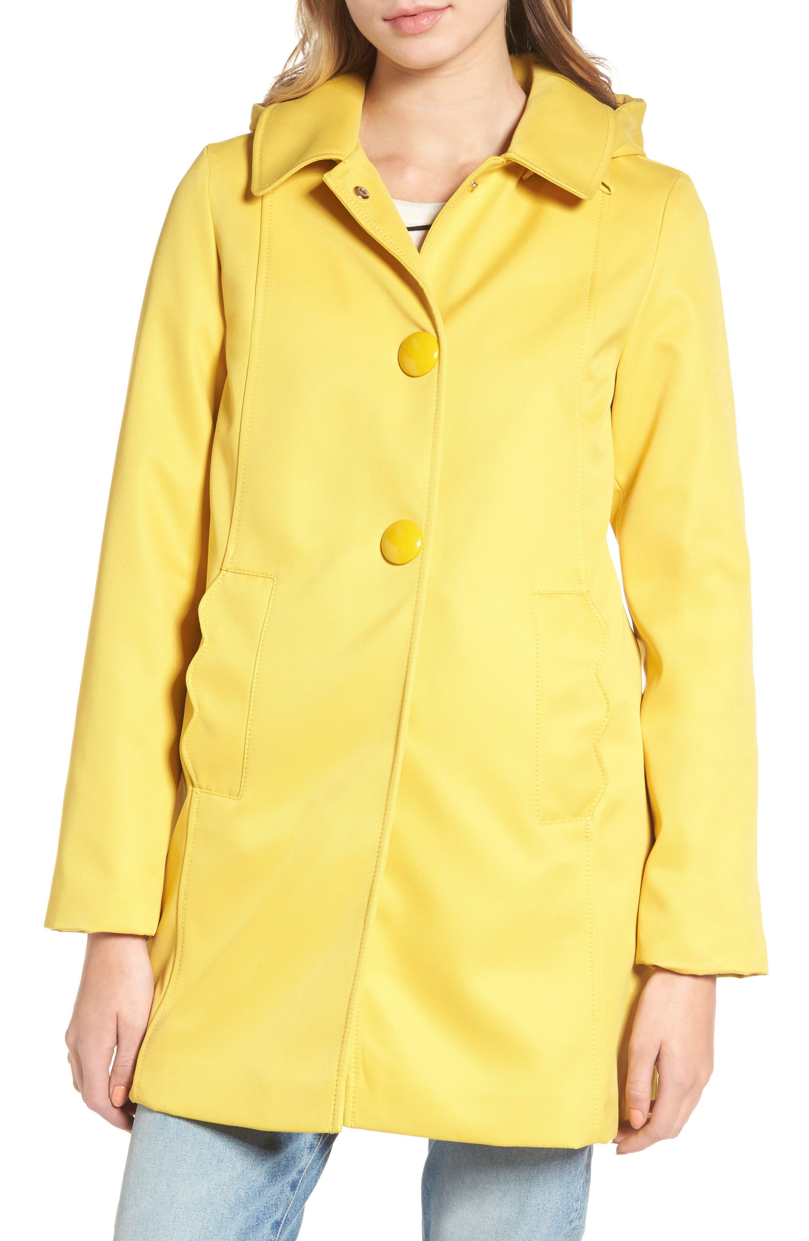 scallop edge raincoat,                         Main,                         color, Citrine