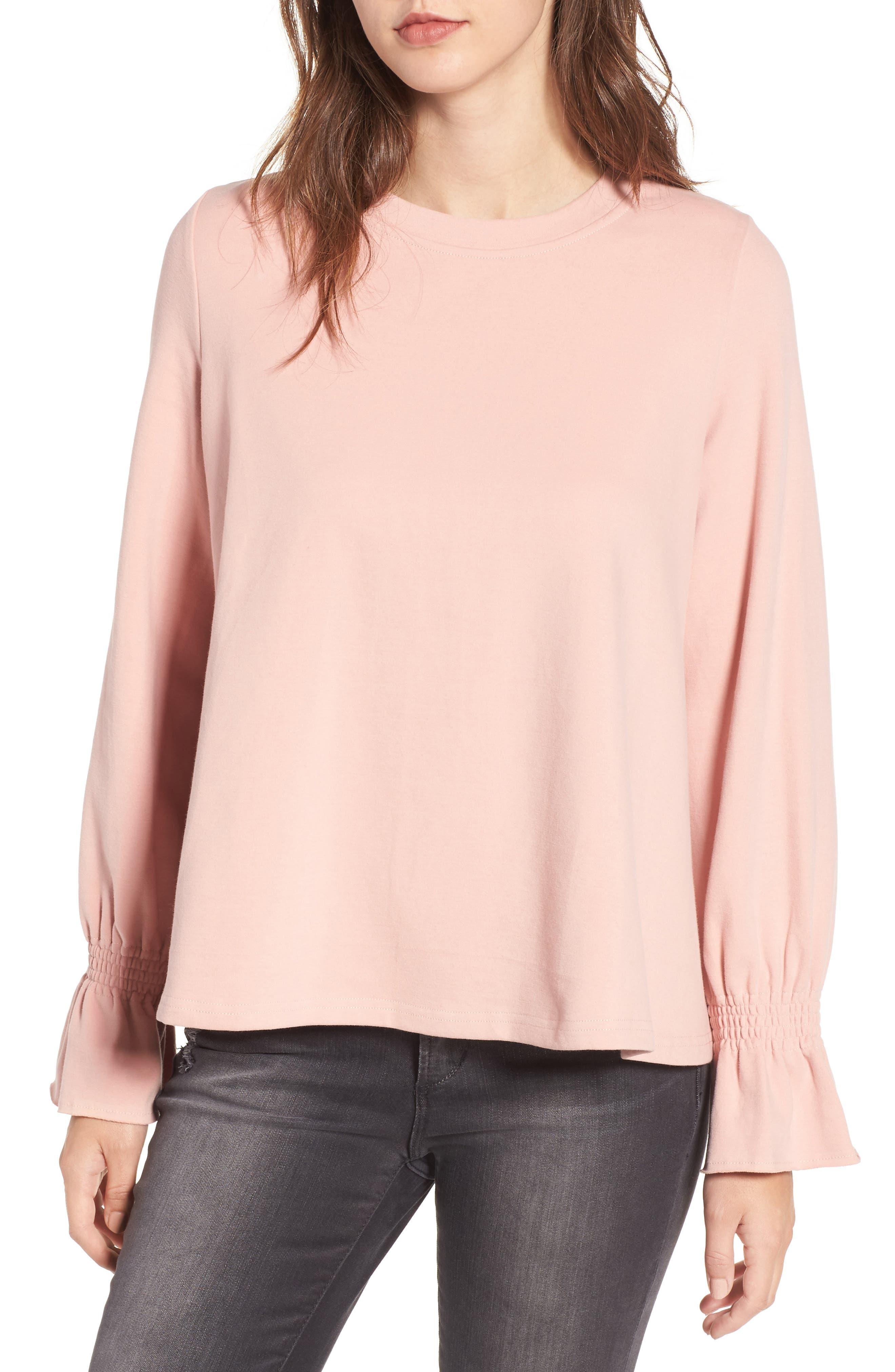 Cinch Cuff Pullover,                         Main,                         color, Blush