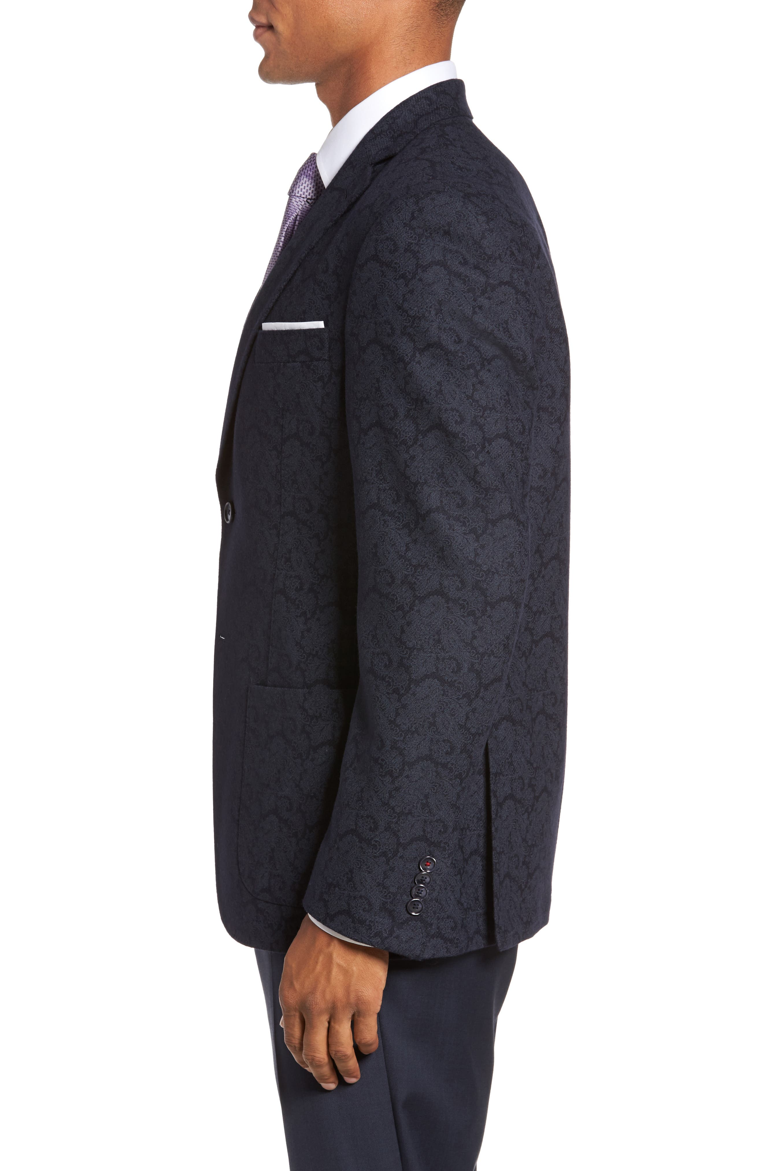 Alternate Image 3  - JKT New York Trim Fit Paisley Wool Blend Sport Coat