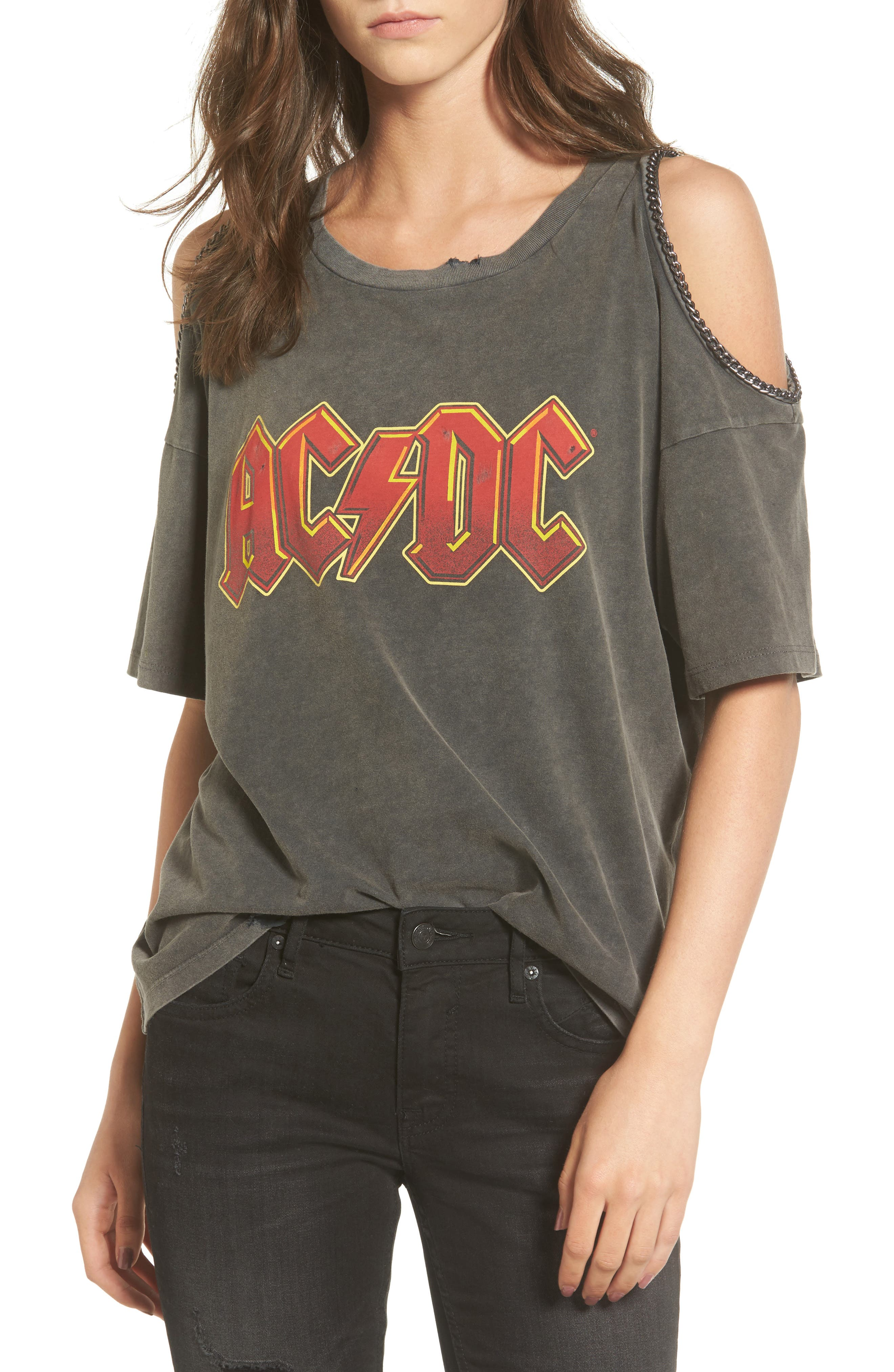AC/DC Graphic Cold Shoulder Tee,                         Main,                         color, Washed Black
