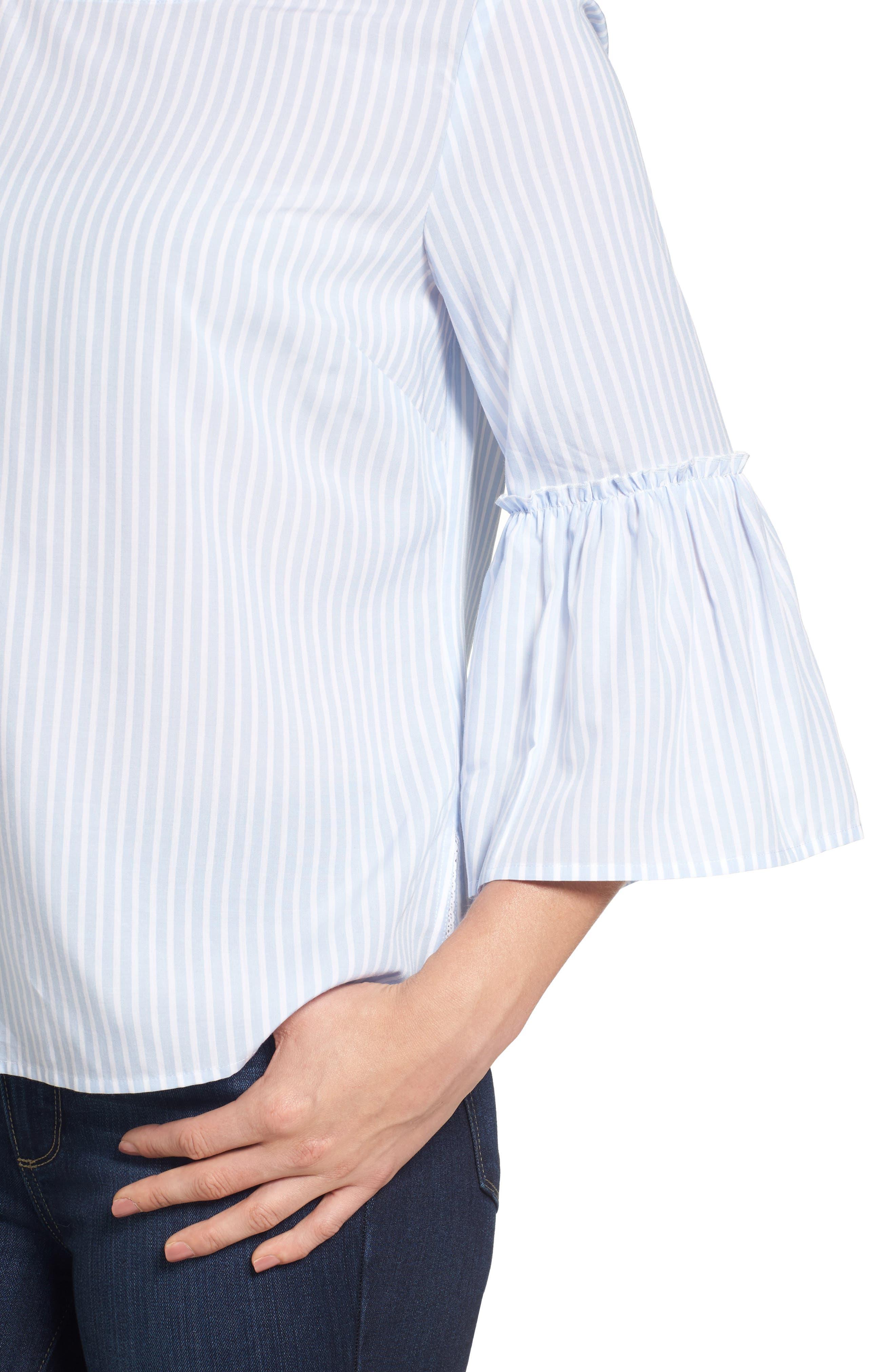 Stripe Bell Sleeve Top,                             Alternate thumbnail 4, color,                             Jake Blue