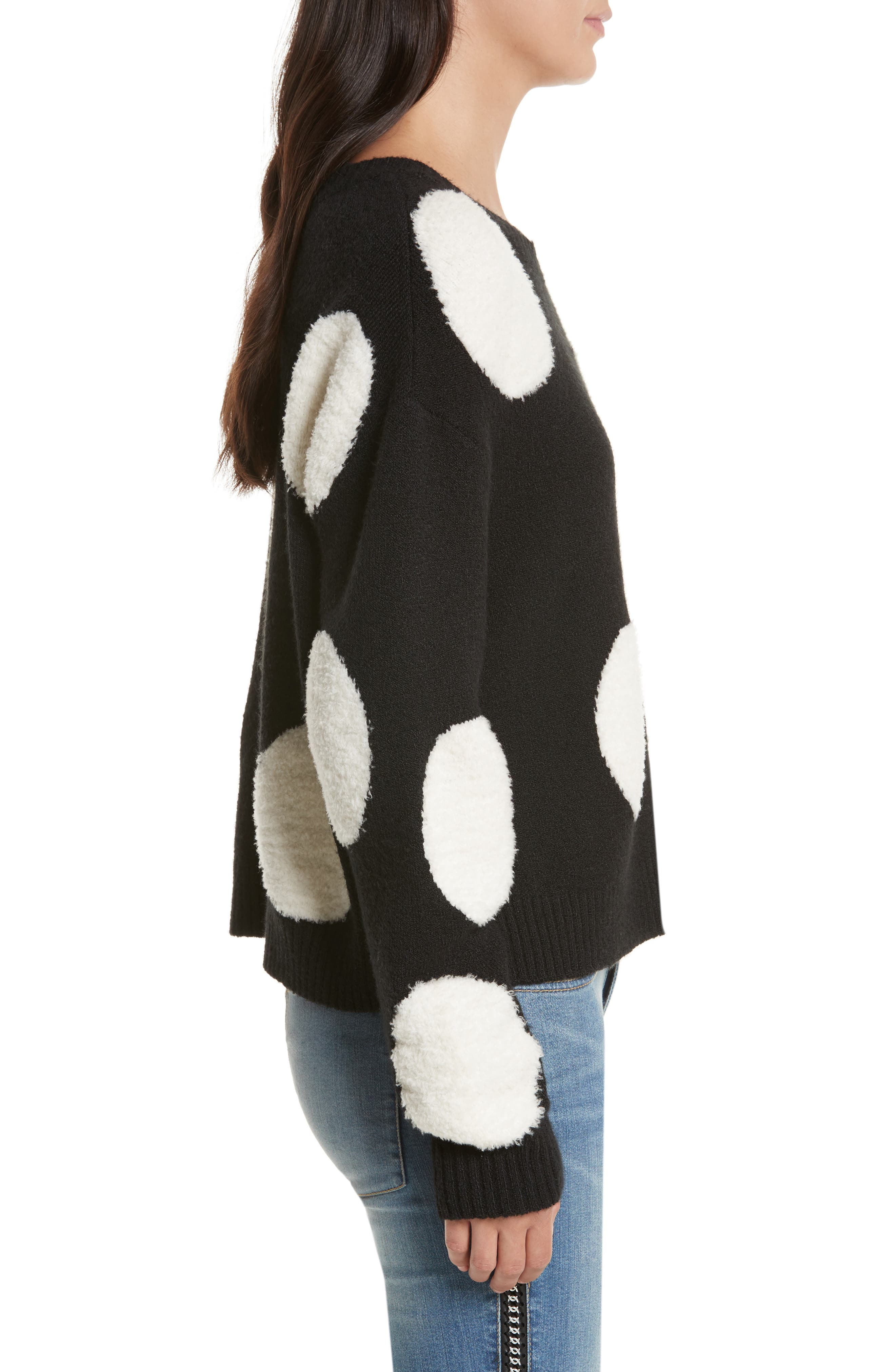Polka Dot Boxy Sweater,                             Alternate thumbnail 3, color,                             Black/ White