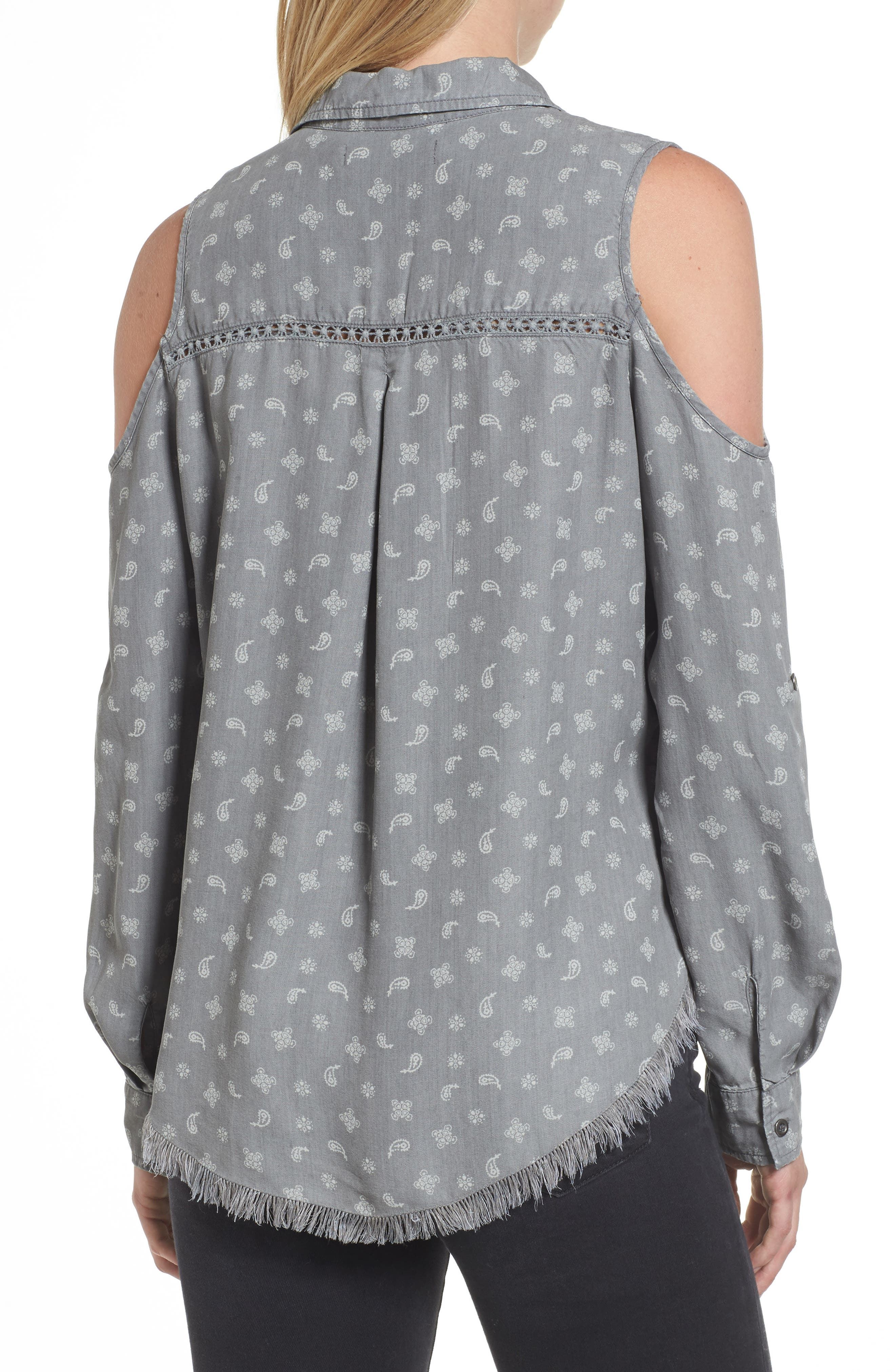 Cold Shoulder Paisley Shirt,                             Alternate thumbnail 2, color,                             Grey Handkerchief