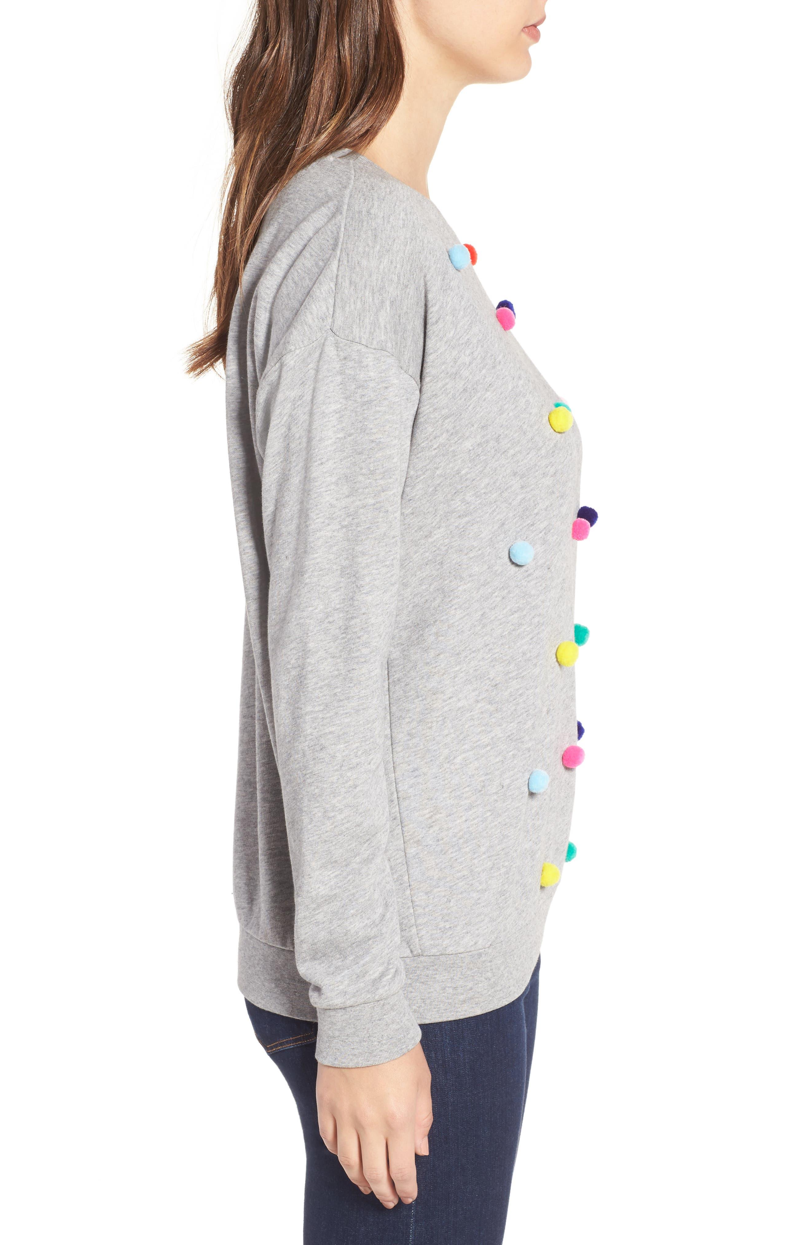 Pompom Sweatshirt,                             Alternate thumbnail 3, color,                             Grey