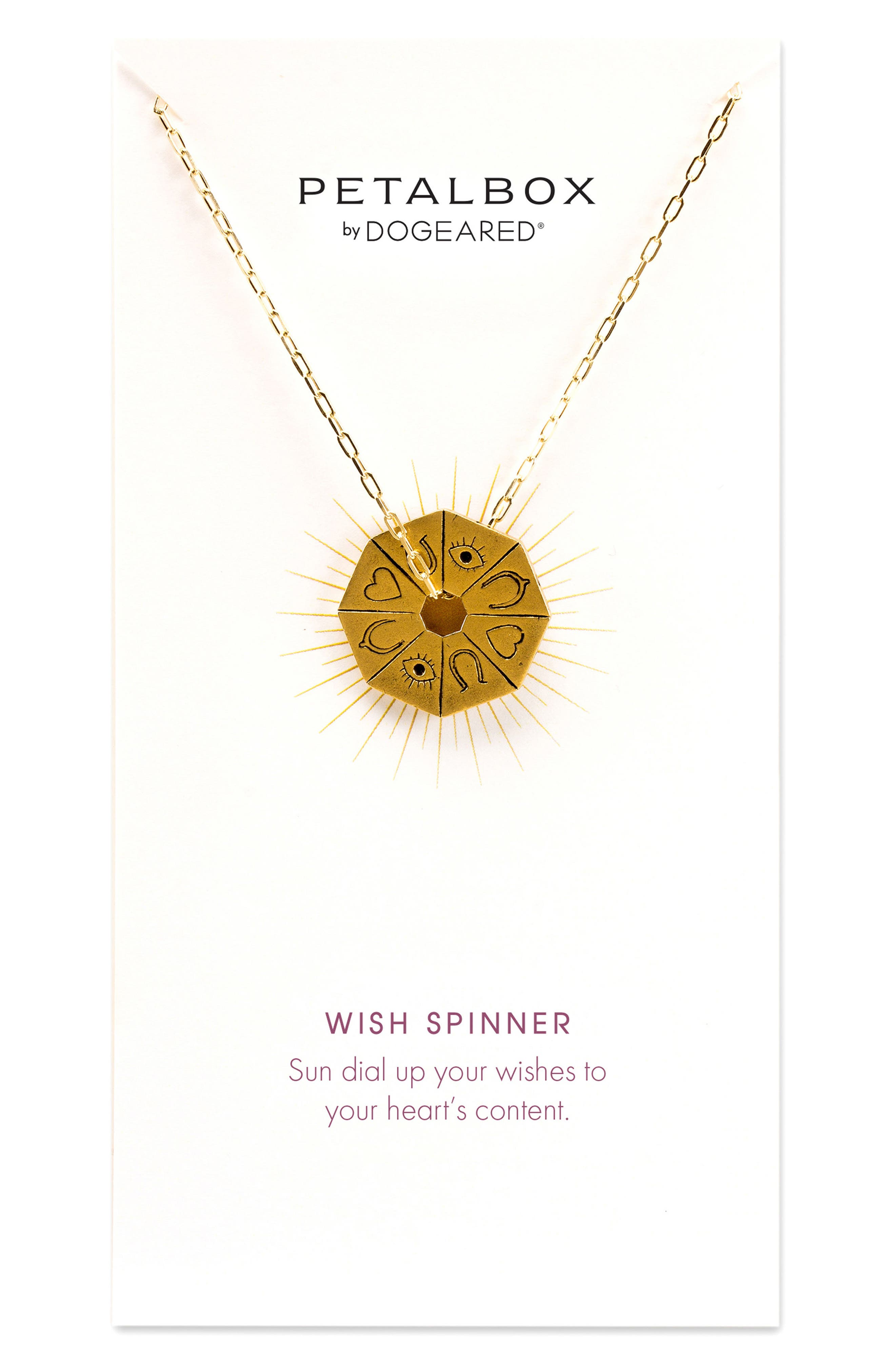 Petalbox Wish Spinner Pendant Necklace,                             Main thumbnail 1, color,                             Gold