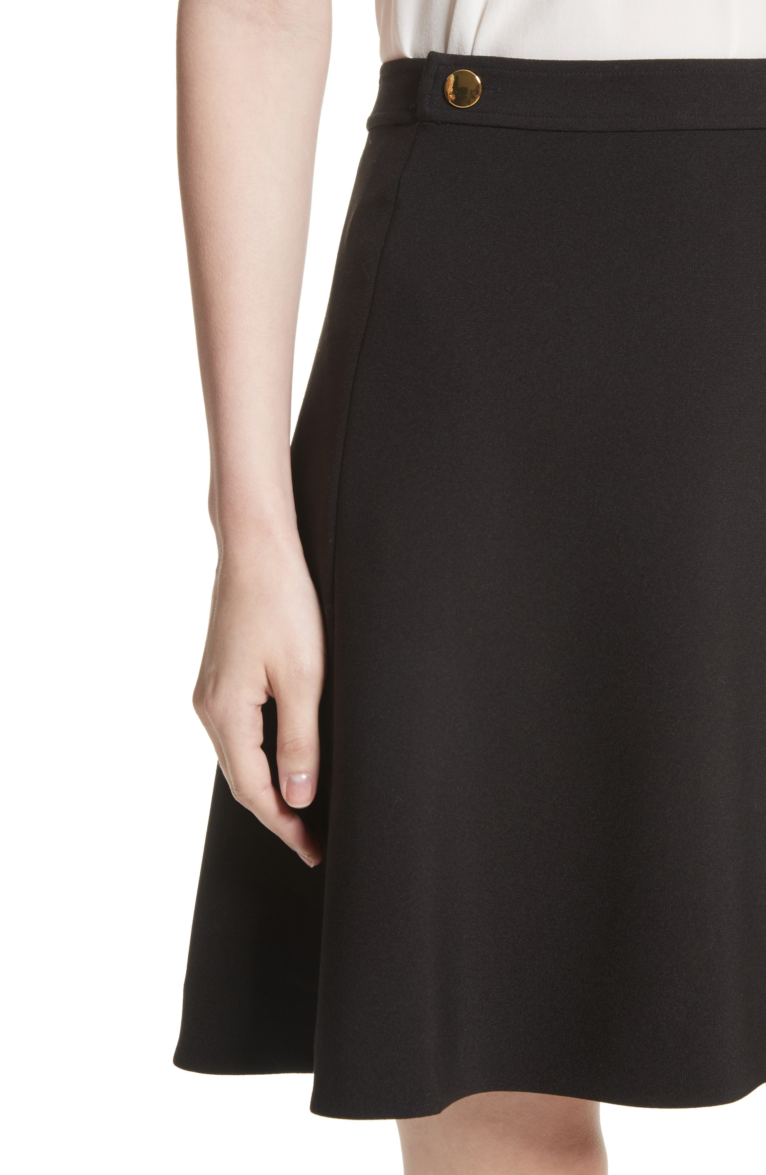 crepe military skirt,                             Alternate thumbnail 4, color,                             Black