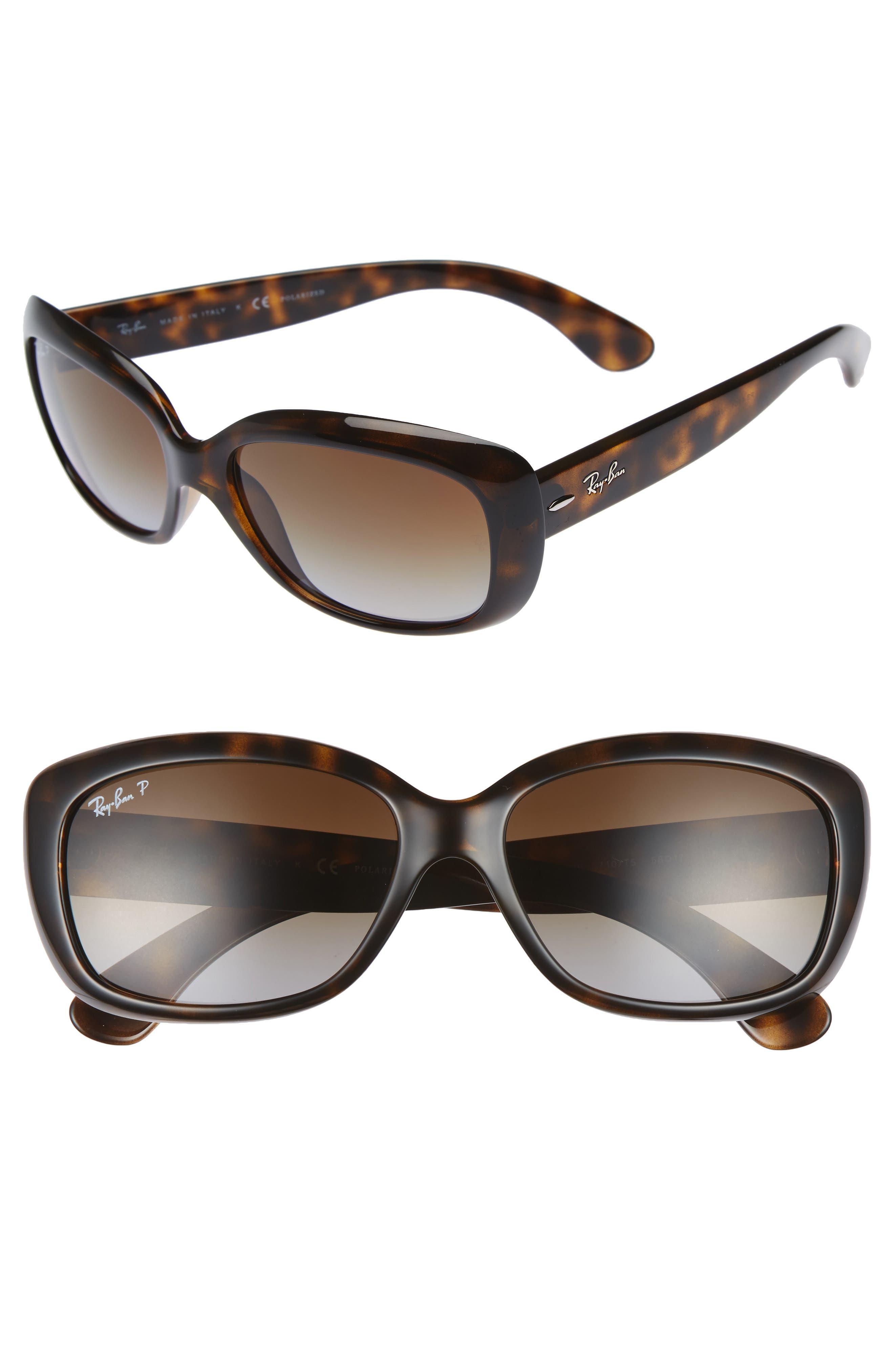 58mm Polarized Sunglasses,                         Main,                         color, Havana