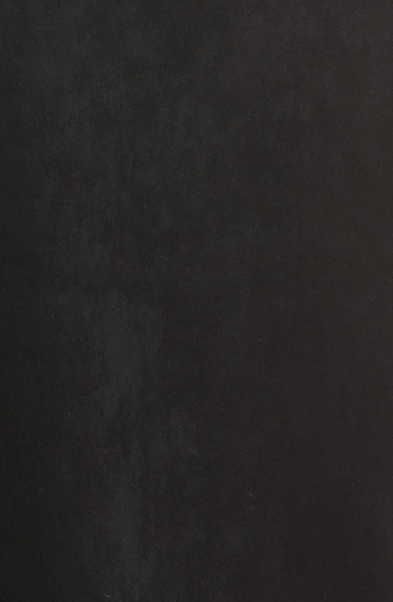 Faux Suede Midi Skirt,                             Alternate thumbnail 5, color,                             Black