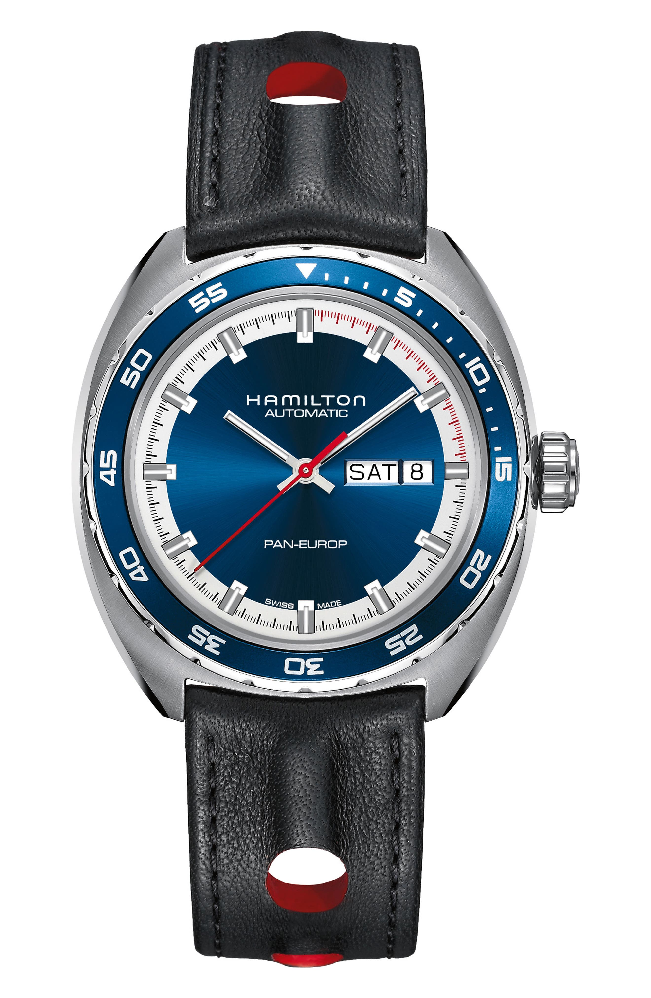 American Classic Pan Europ Automatic Leather Strap Watch; 42mm,                         Main,                         color, Black/ Blue/ Silver