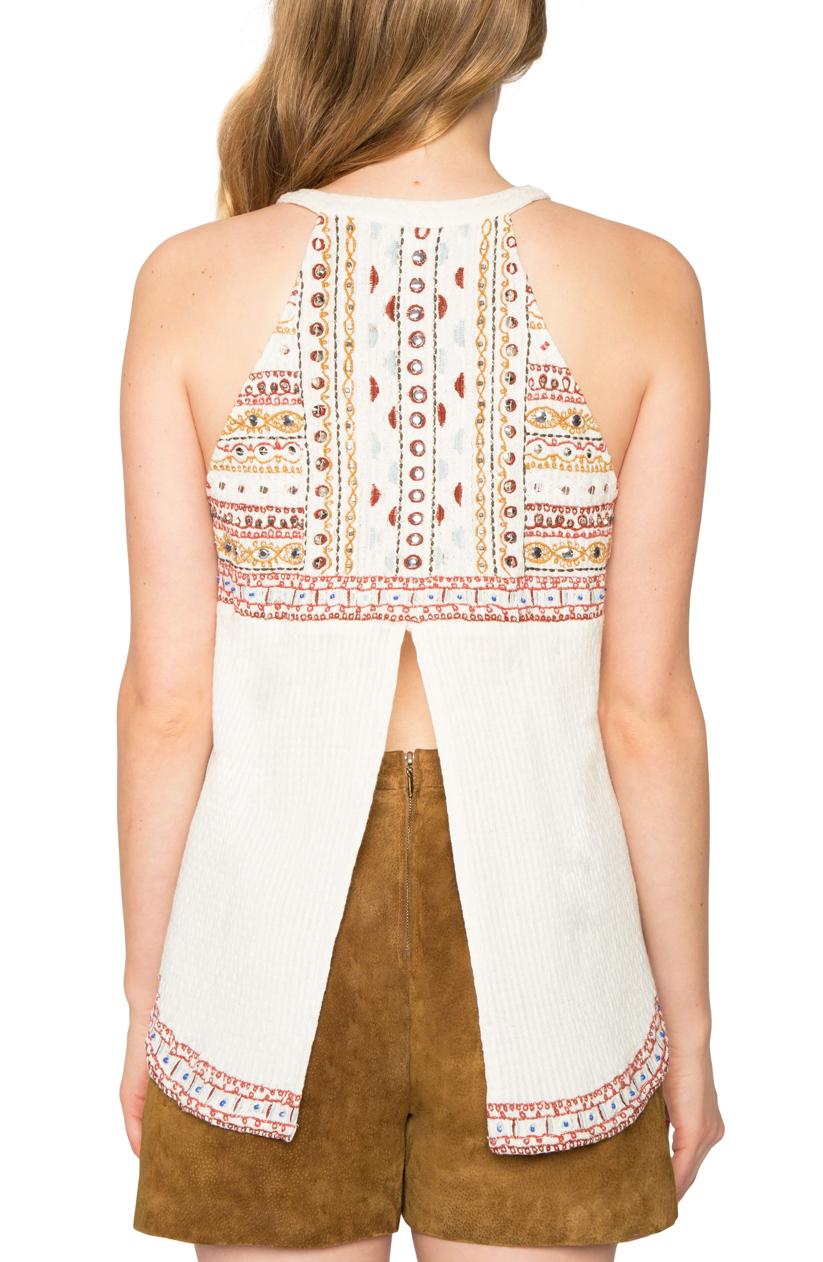 Embroidered Sleeveless Top,                             Alternate thumbnail 2, color,                             Natural