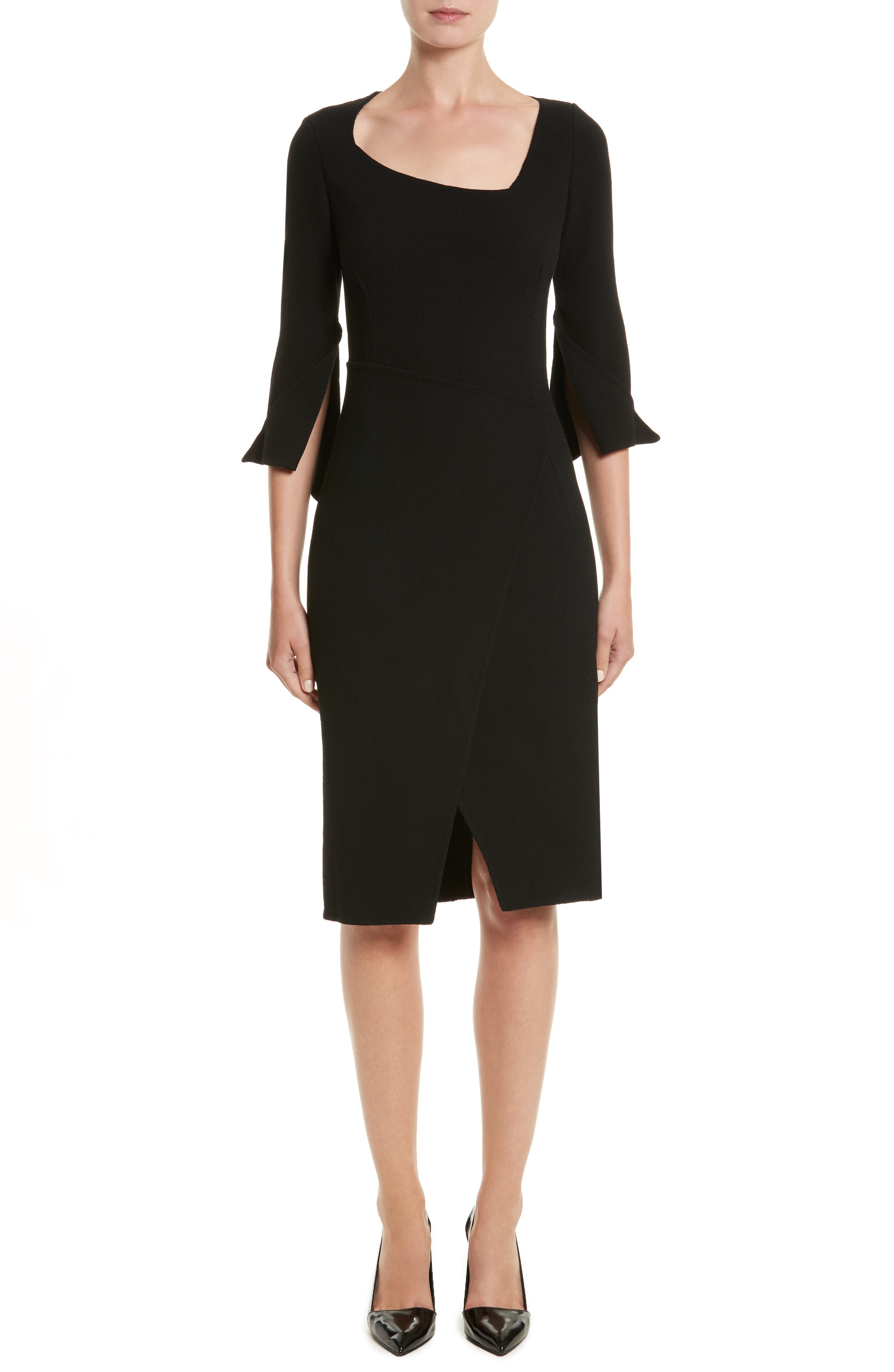 Oscar de la Renta Split Double Face Wool Blend Crepe Dress