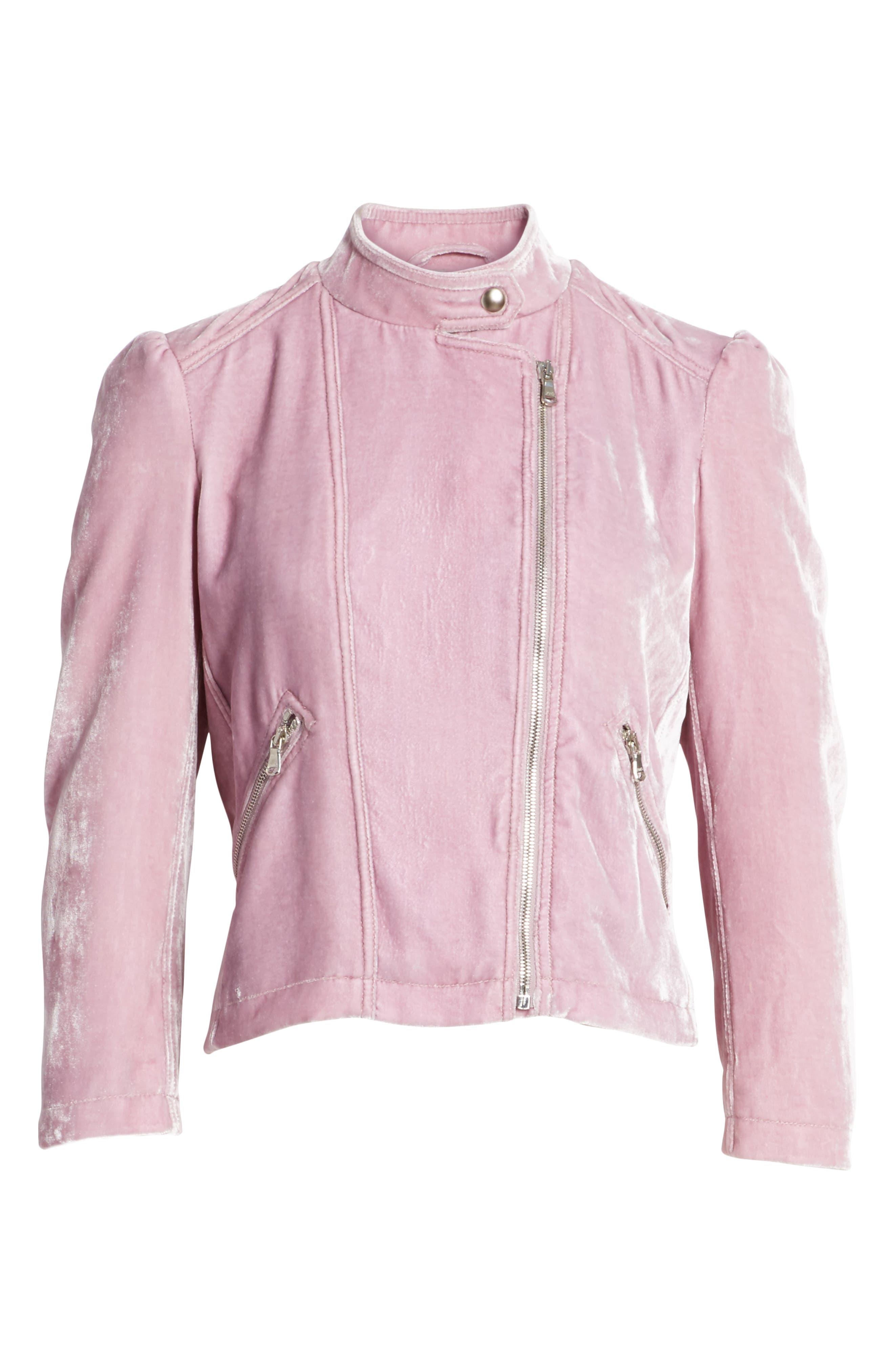 Alternate Image 6  - Rebecca Taylor Velvet Moto Jacket