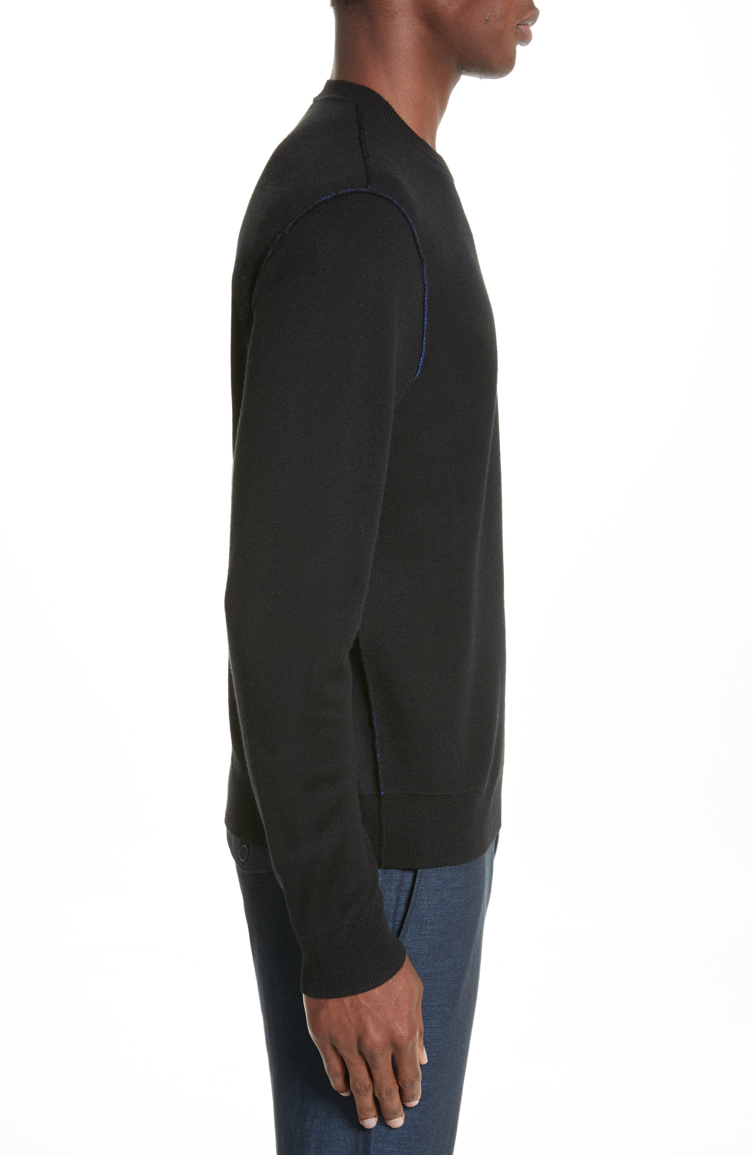 AJ Crewneck Sweater,                             Alternate thumbnail 3, color,                             Black