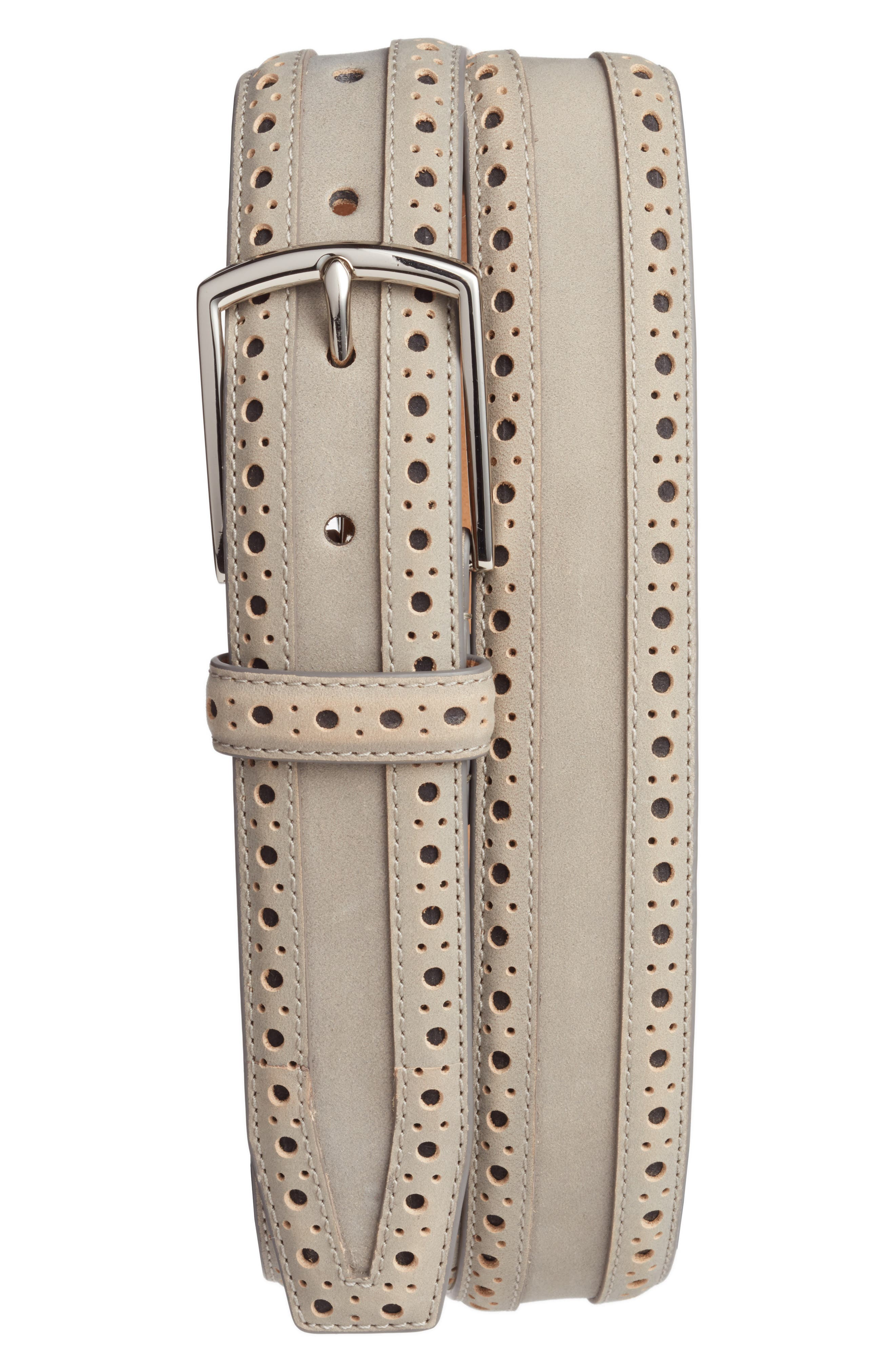 Brogue Nubuck Leather Belt,                             Main thumbnail 1, color,                             Ironstone