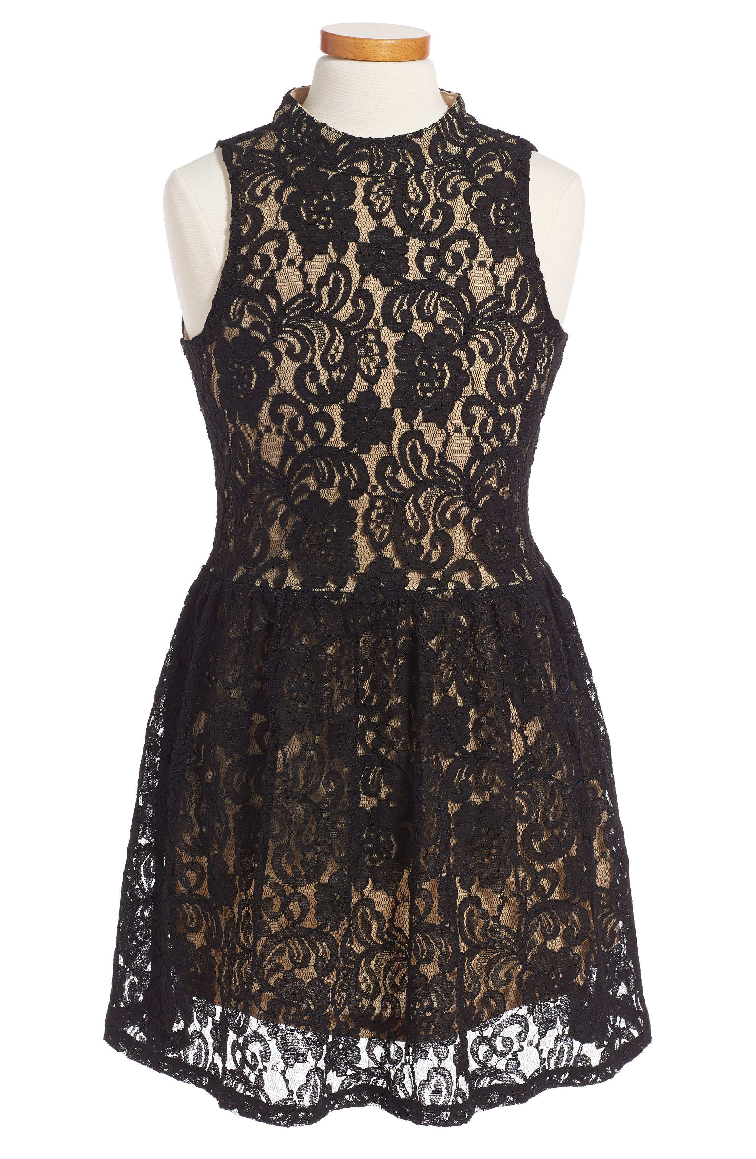 Main Image - Penelope Tree Hailee Lace Dress (Big Girls)
