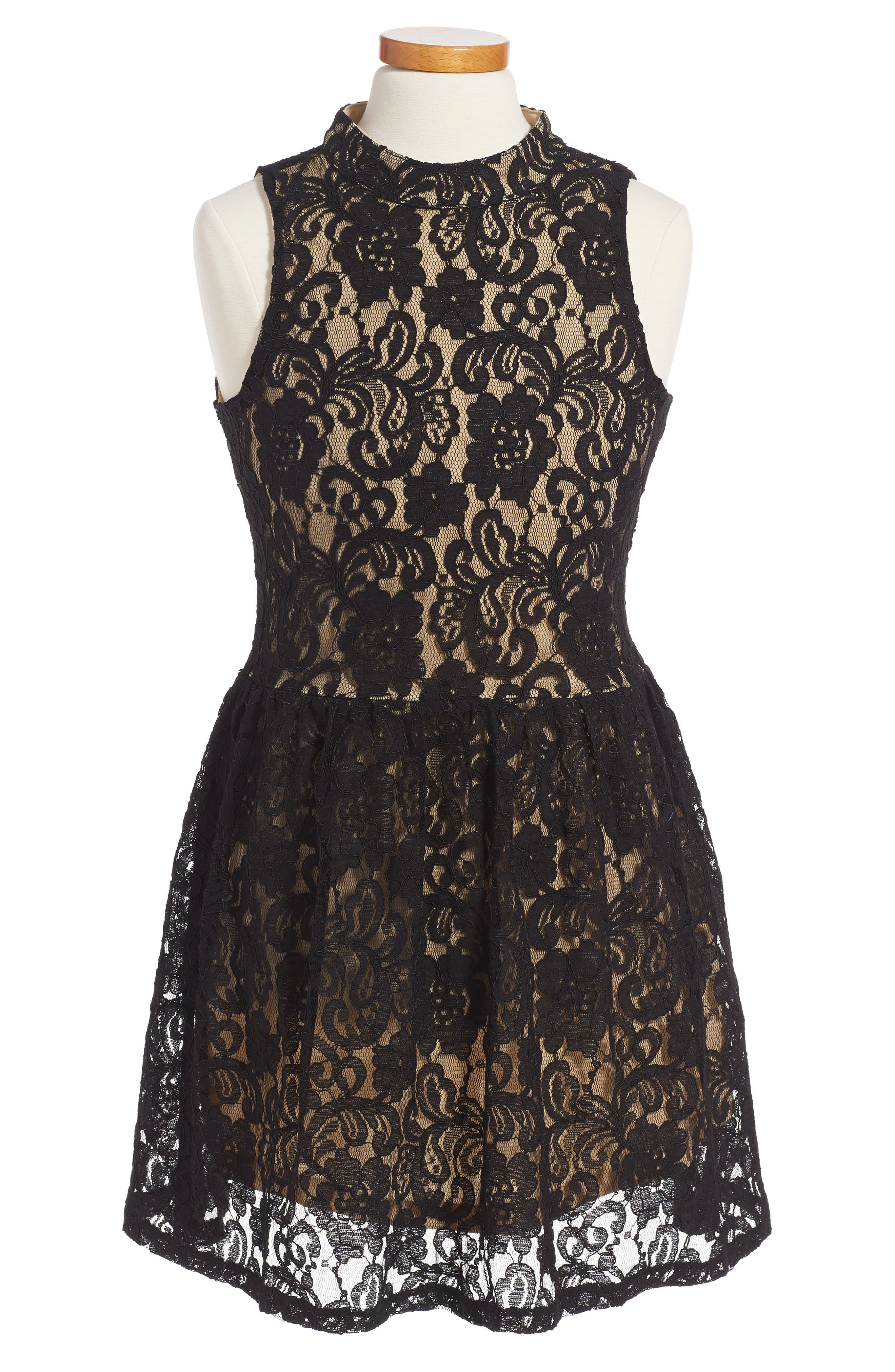 Hailee Lace Dress,                         Main,                         color, Black/ Nude