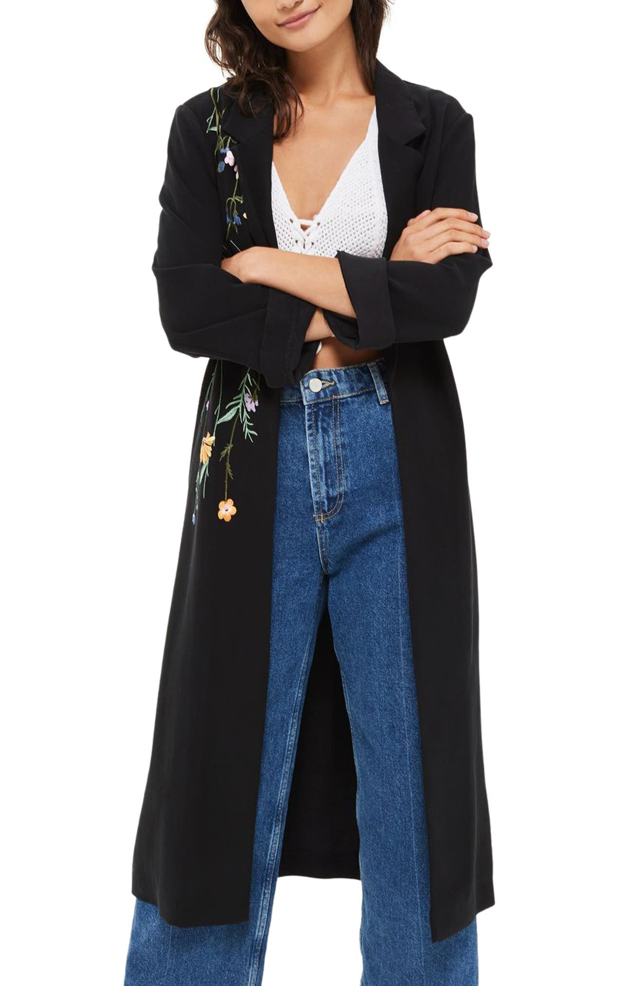 Floral Embroidered Duster Coat,                         Main,                         color, Black Multi