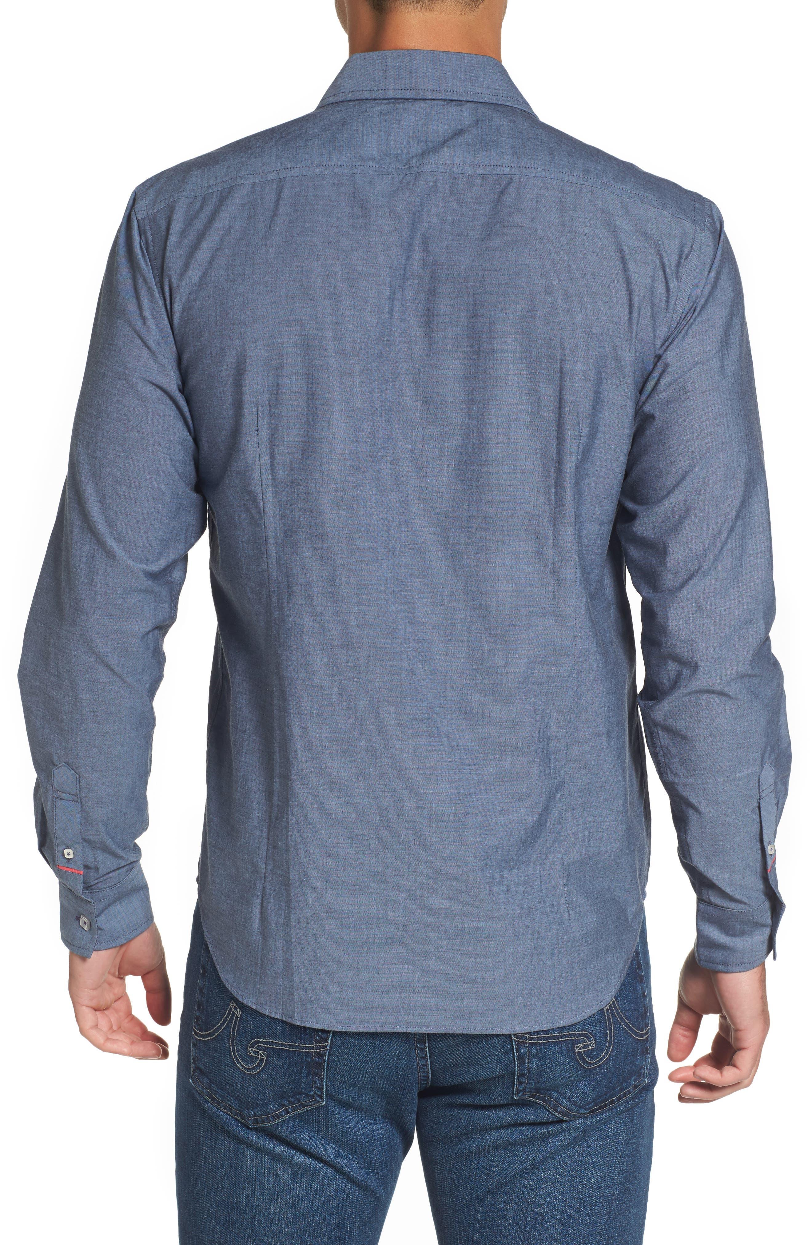 Fitted Sport Shirt,                             Alternate thumbnail 2, color,                             Medium Blue
