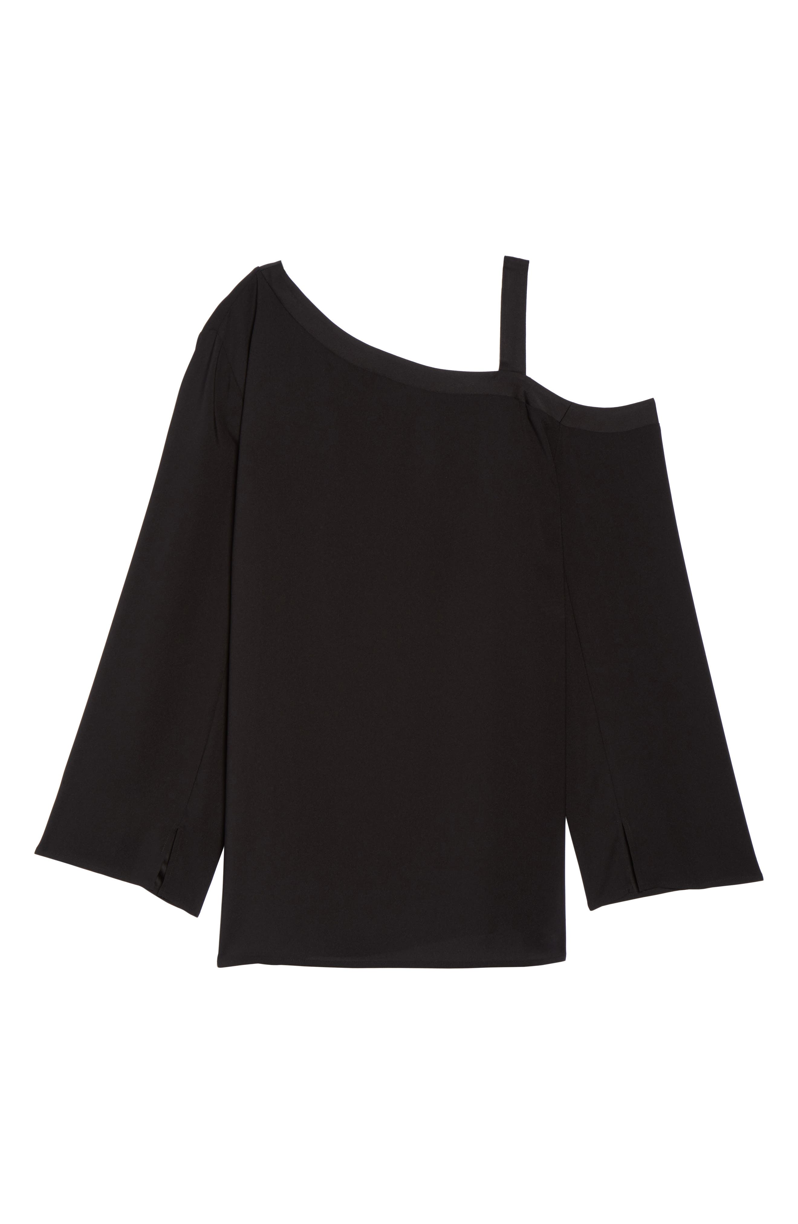 One-Shoulder Bell Sleeve Top,                             Alternate thumbnail 6, color,                             Black