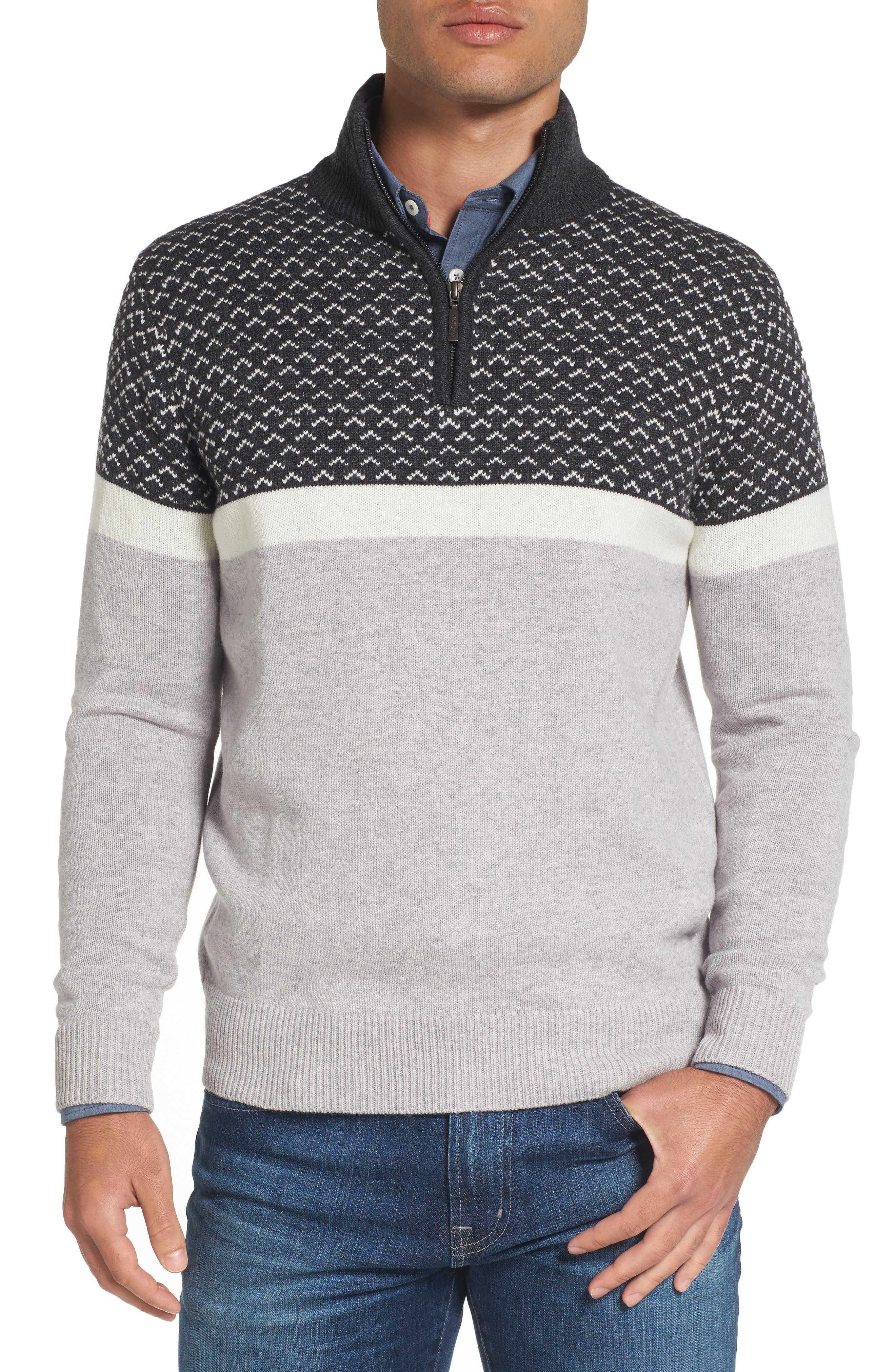 Jeremy Argyle Colorblock Wool Blend Quarter Zip Pullover