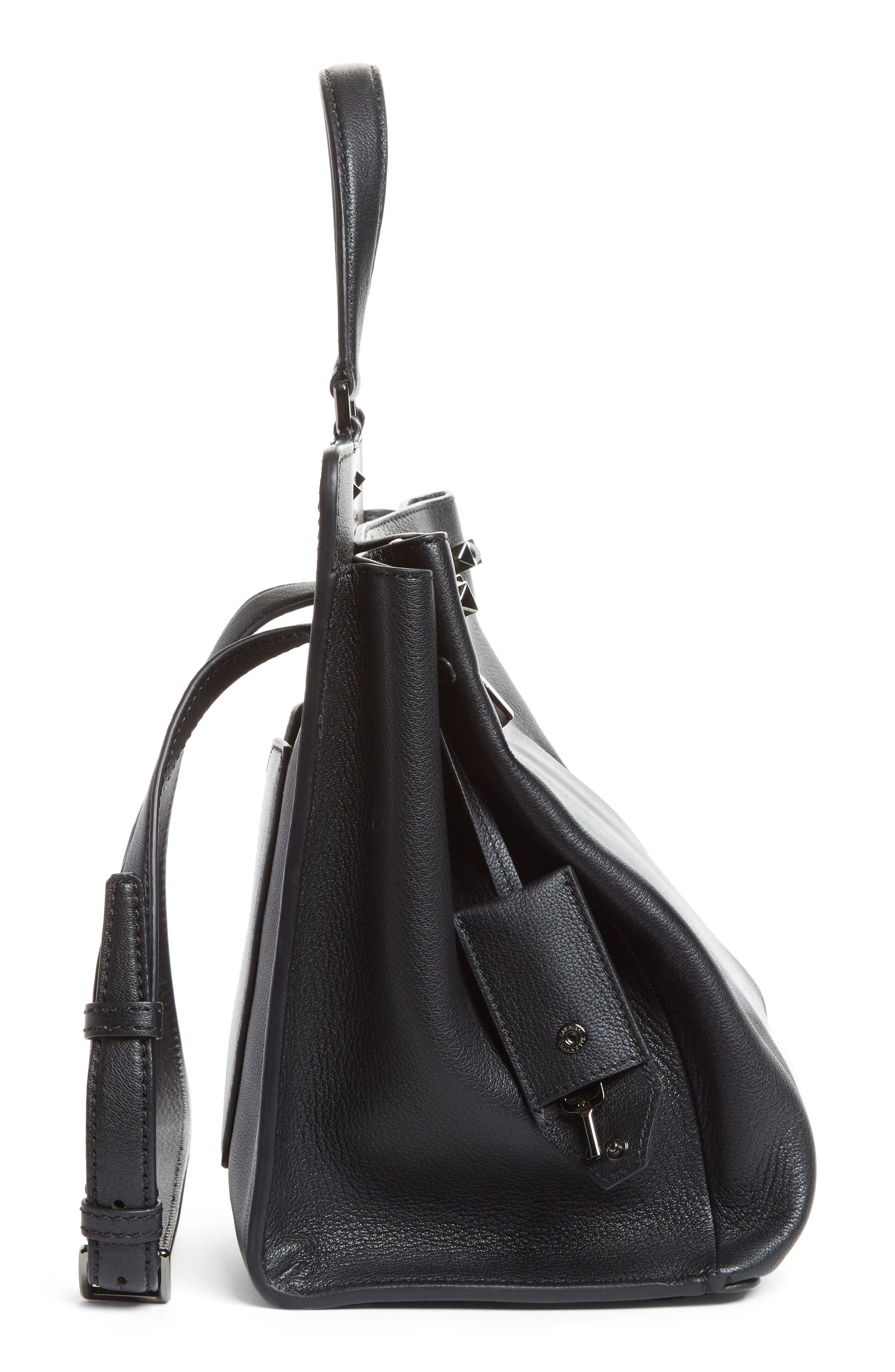 Large Pieper Leather Tote,                             Alternate thumbnail 4, color,                             Nero