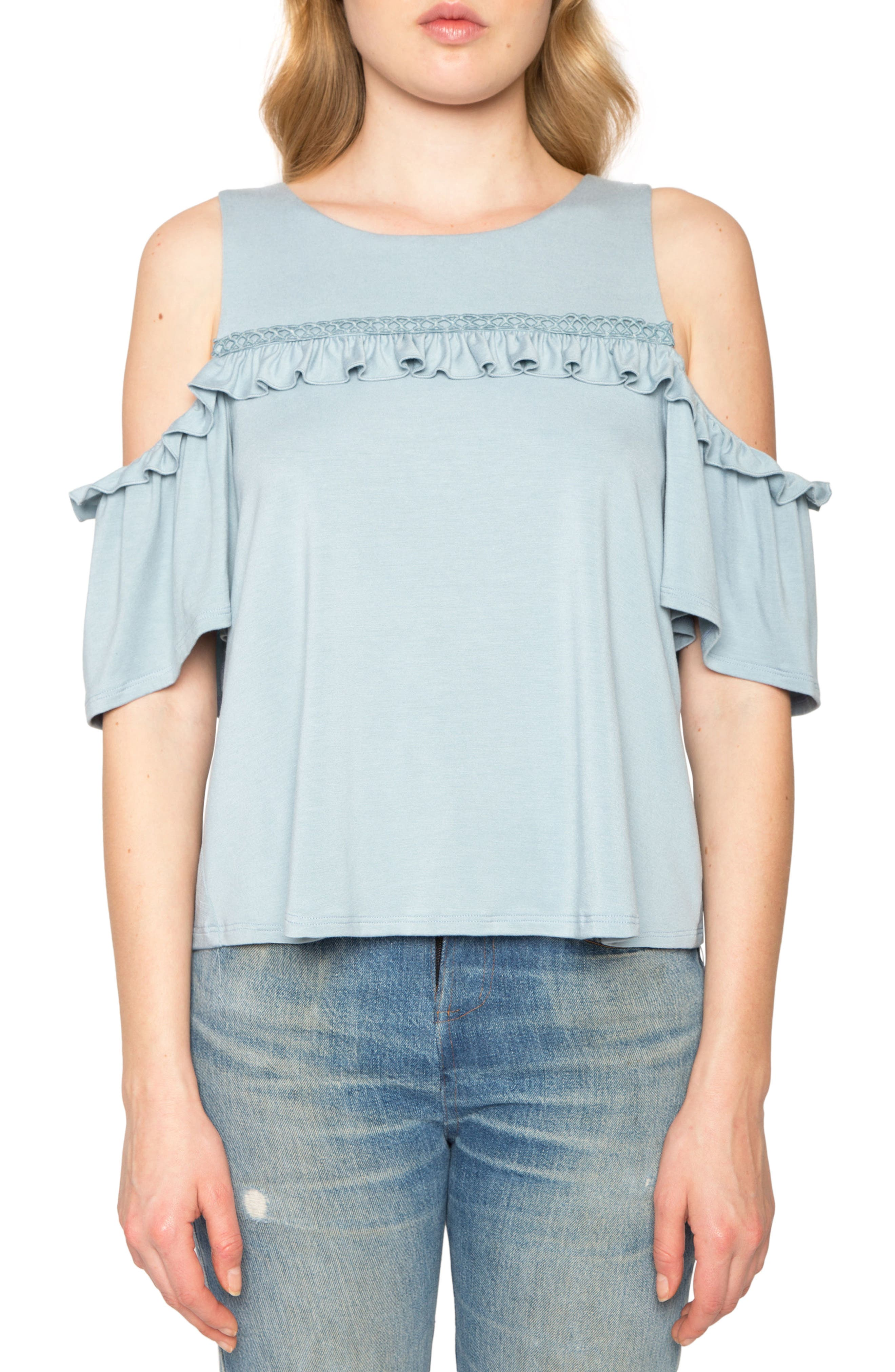 Willow & Clay Ruffle Cold Shoulder Top