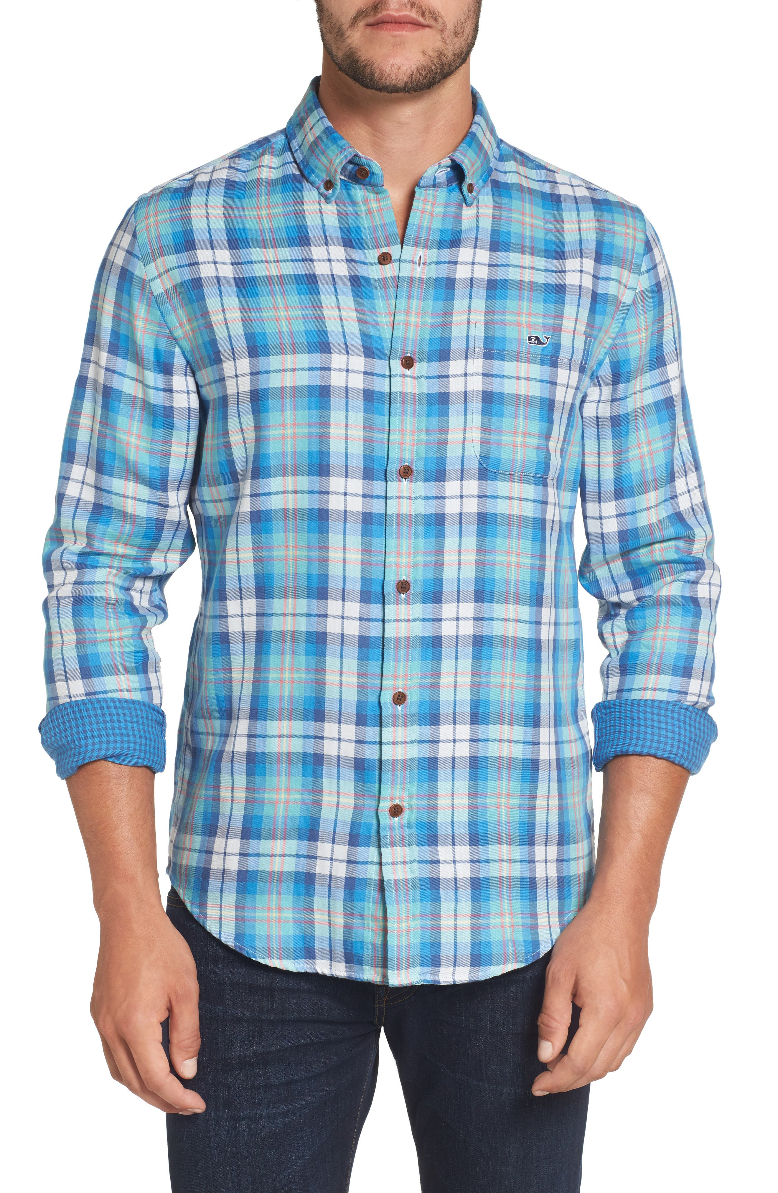 East Marsh Plaid Tucker Slim Fit Sport Shirt,                         Main,                         color, Hull Blue