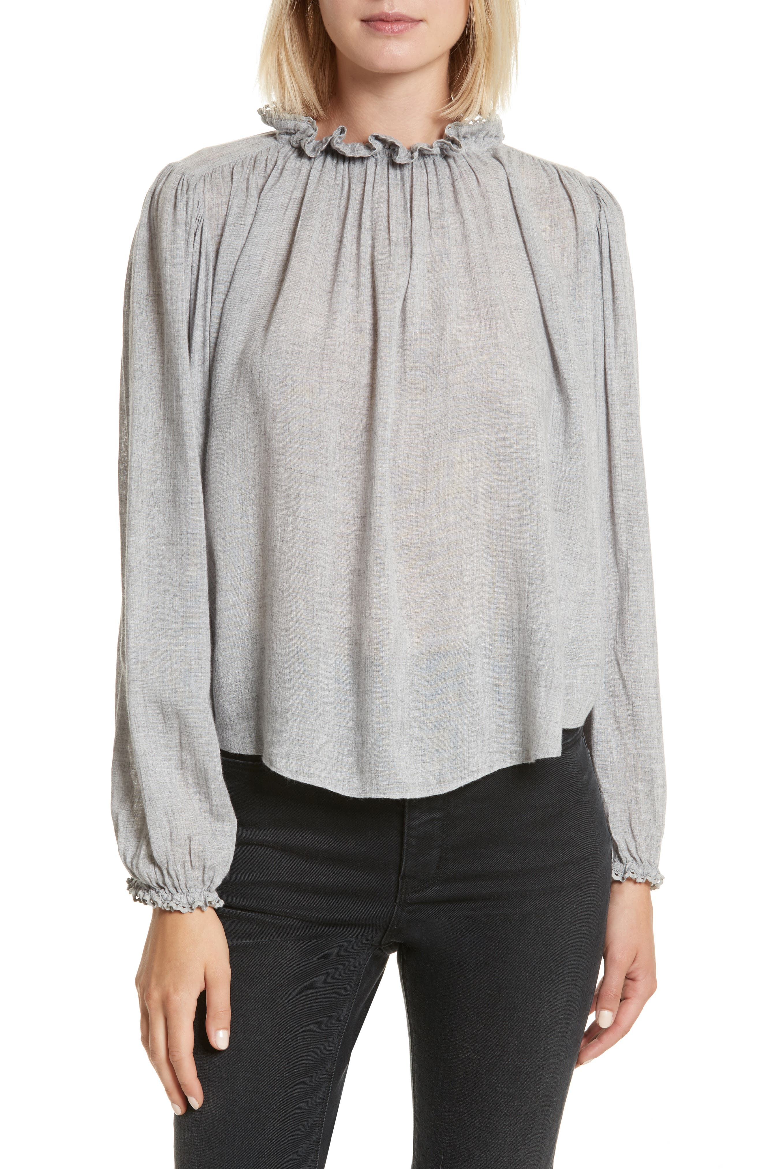 Alternate Image 1 Selected - Rebecca Taylor Scallop Trim Gauze Top