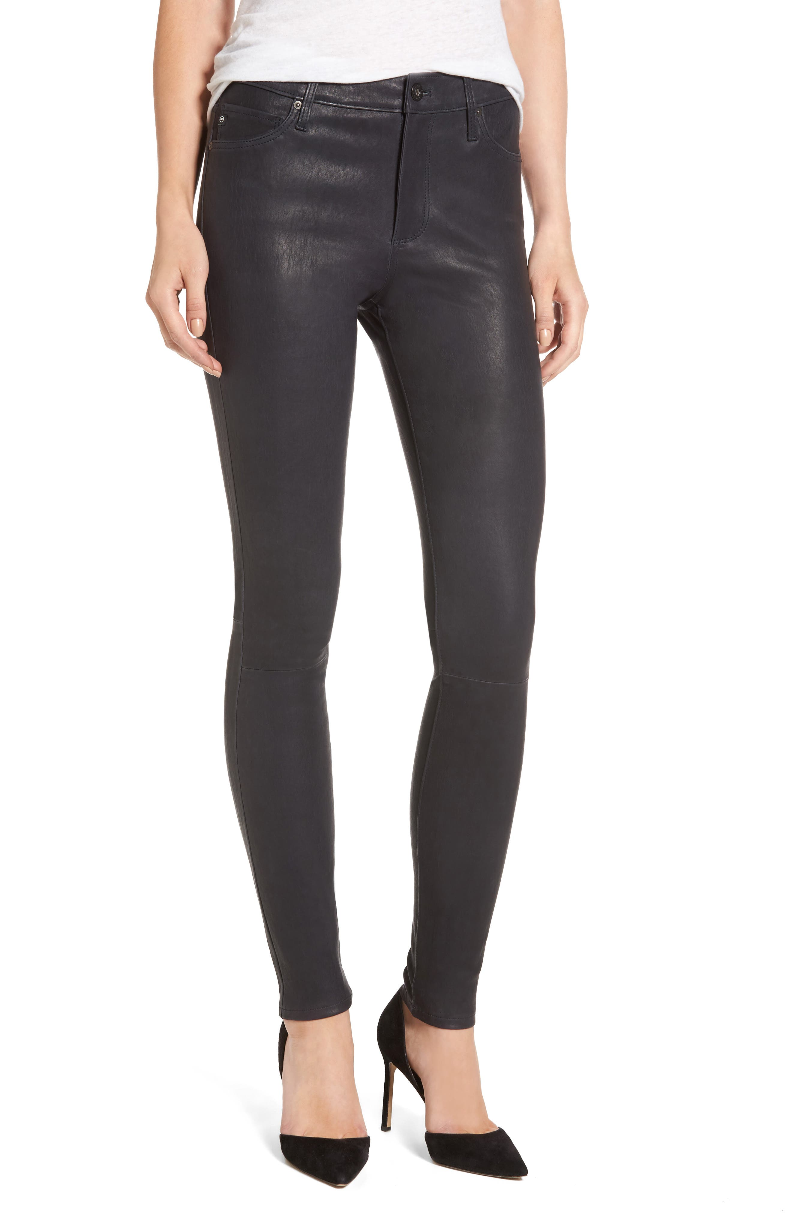 Farrah Leather Skinny Jeans,                         Main,                         color, Pure Navy