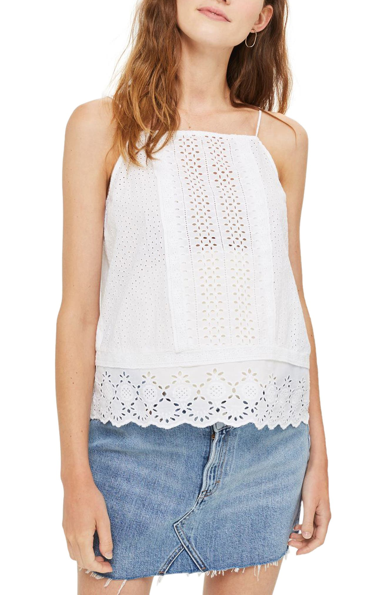 Topshop Mixed Broderie Maternity Tank