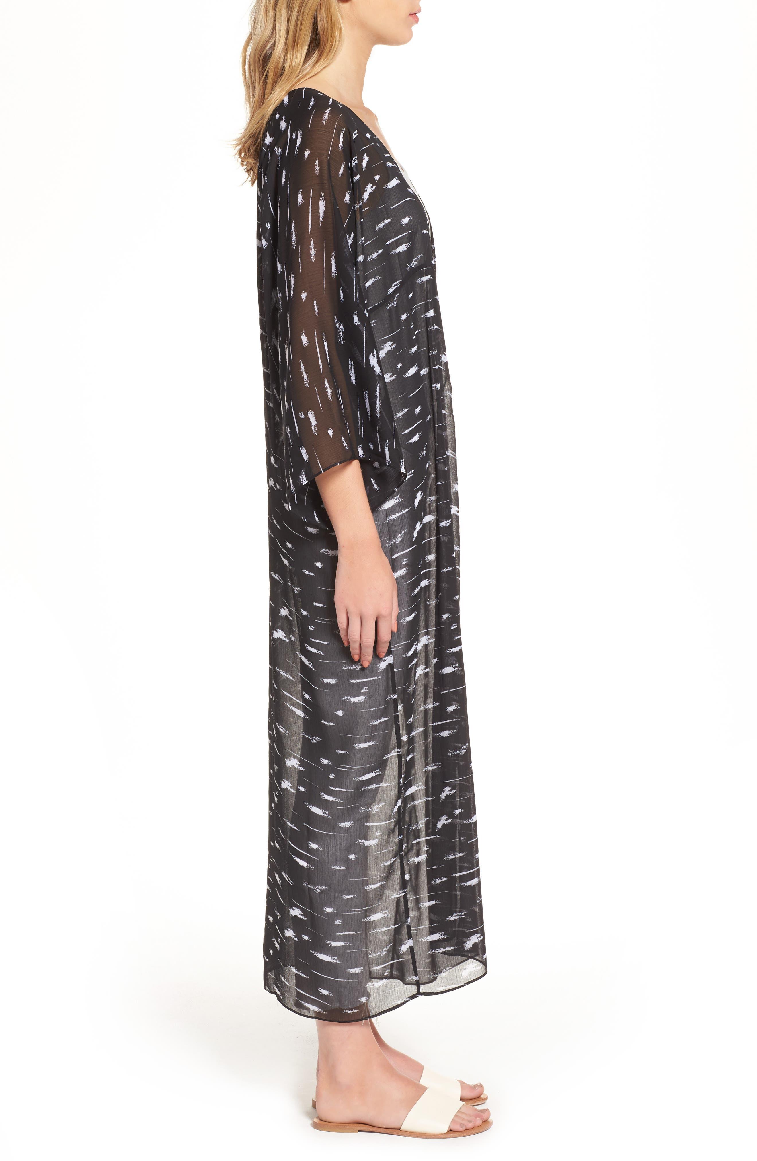 Print Duster Kimono,                             Alternate thumbnail 3, color,                             Black Painted Lines