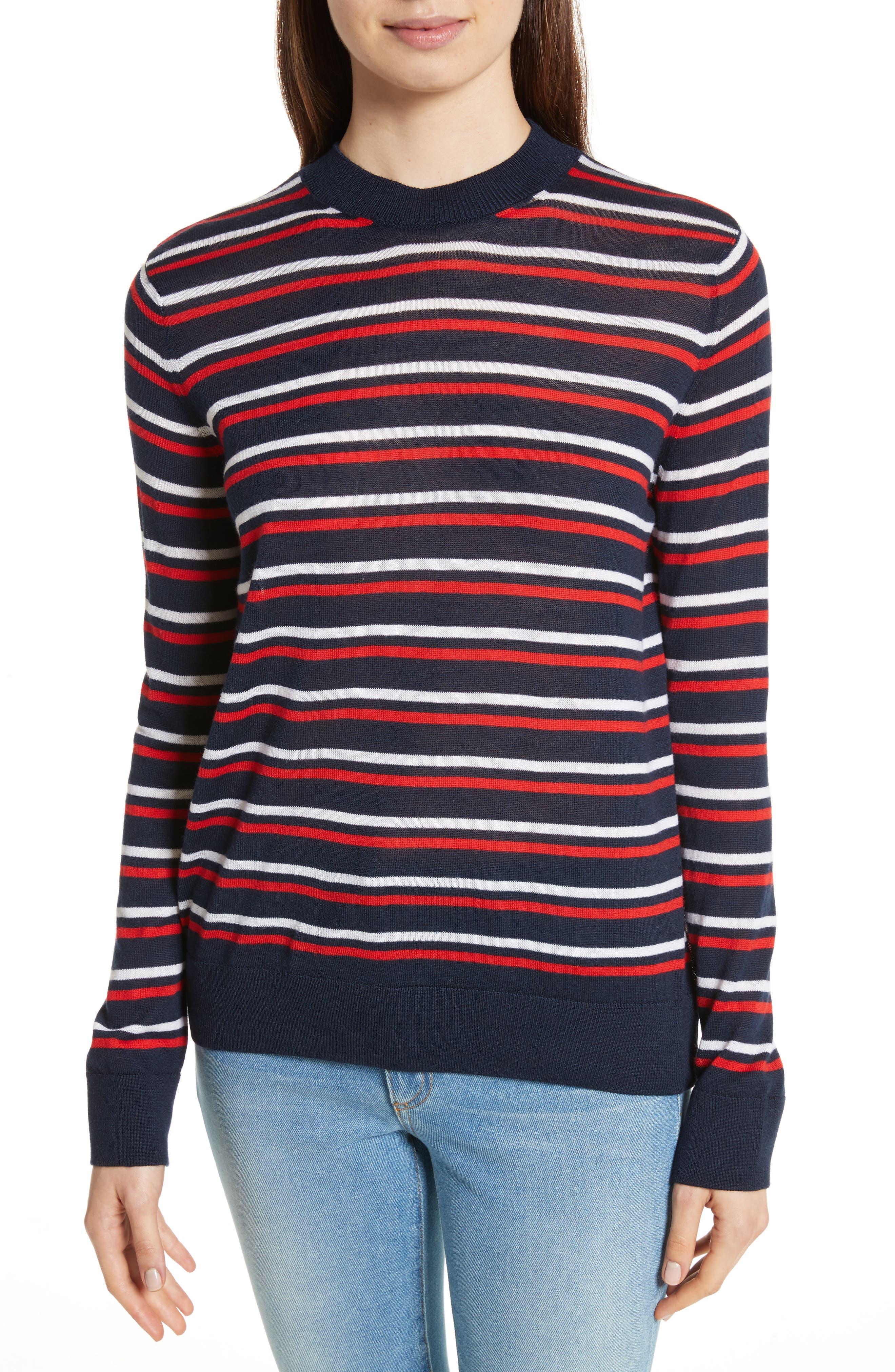 être cécile Stripe Knit Boyfriend Sweater,                         Main,                         color, Marine Blue/ Red/ White
