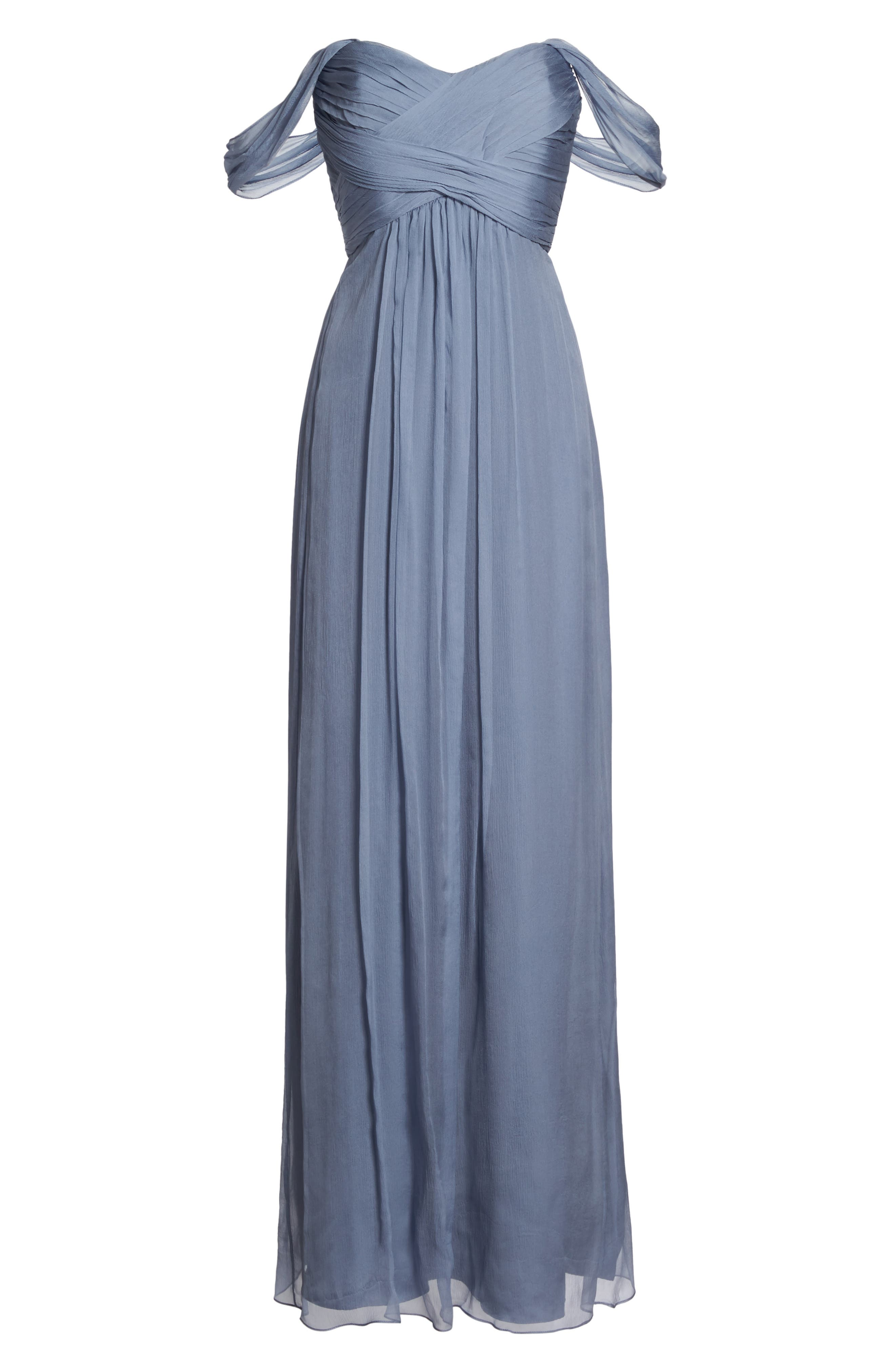Convertible Crinkled Silk Chiffon Gown,                             Main thumbnail 1, color,                             Slate/ Slate