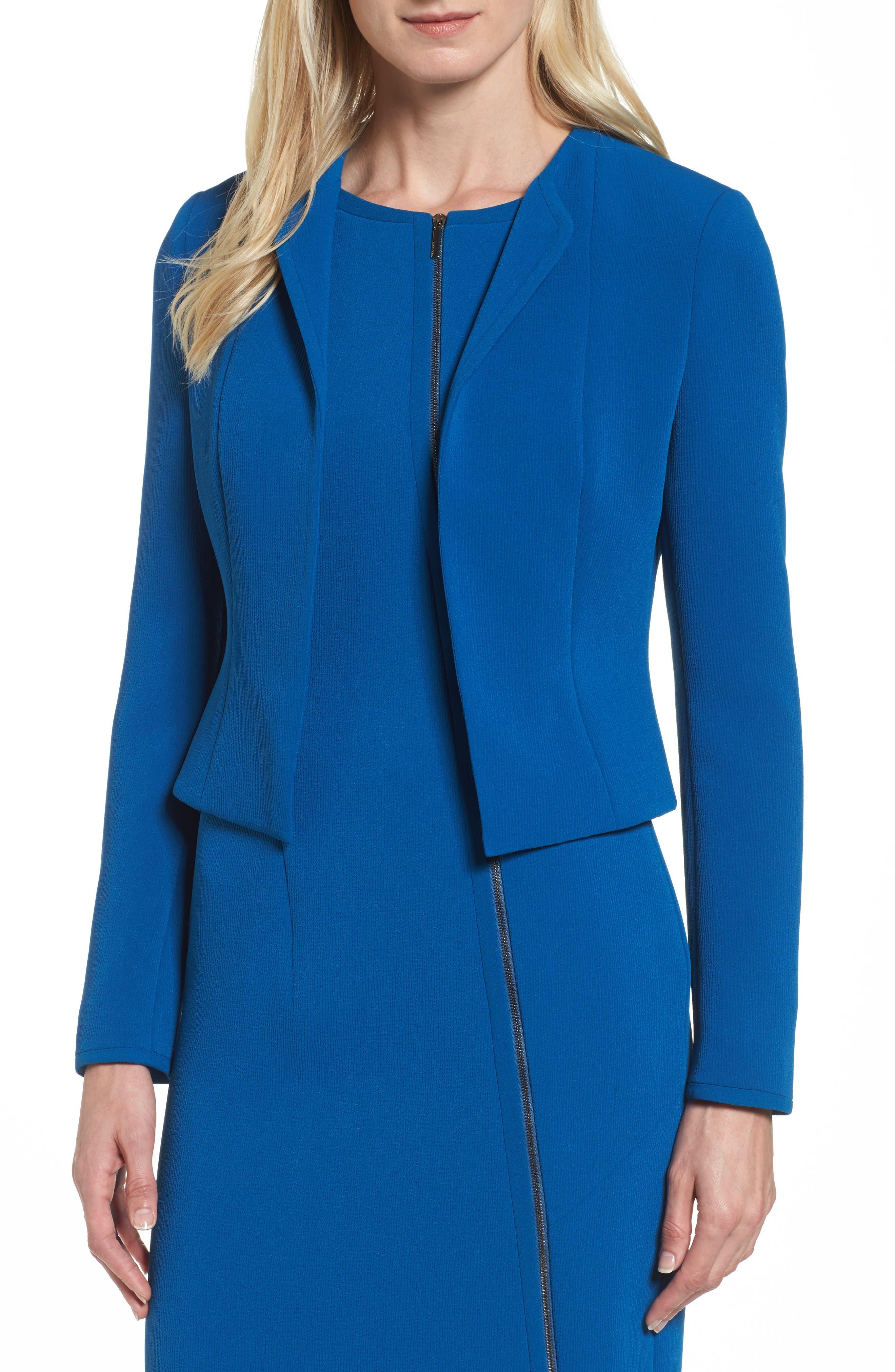 Jerusa Crop Suit Jacket,                             Main thumbnail 1, color,                             Gentian Blue