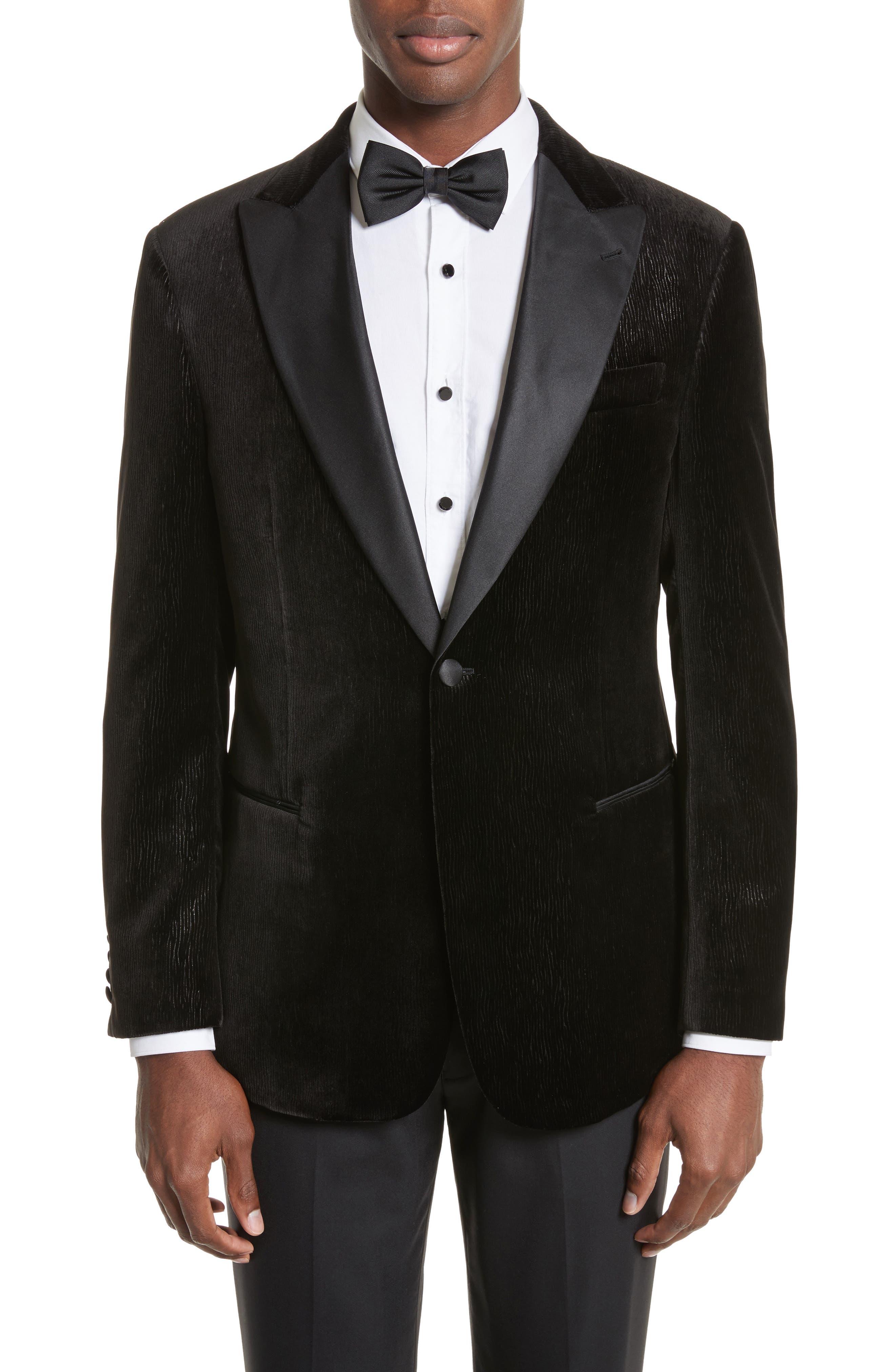 Trim Fit Velvet Dinner Jacket,                         Main,                         color, Black
