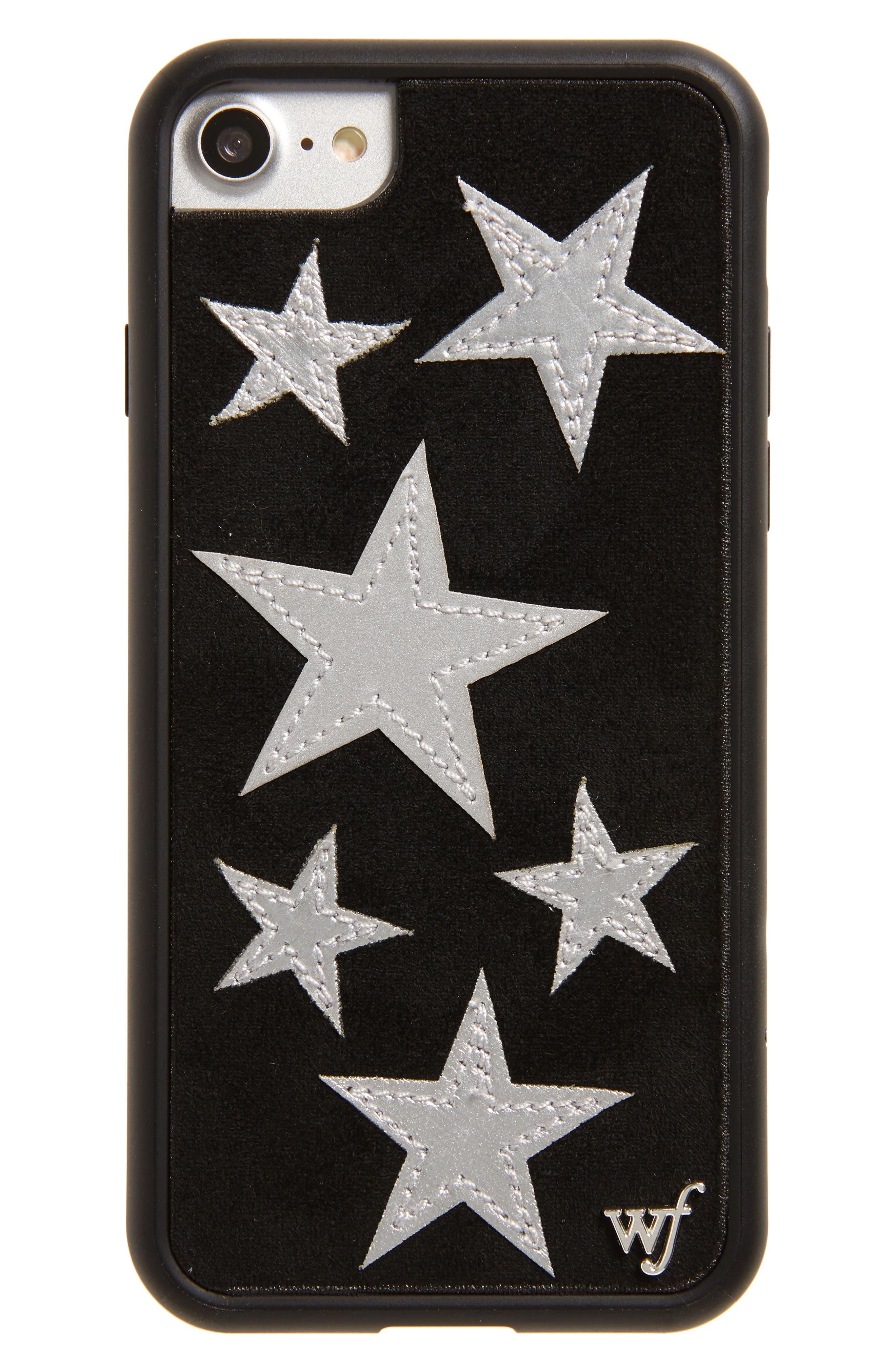 Velvet Star iPhone 7 Case,                         Main,                         color, Black/ Silver
